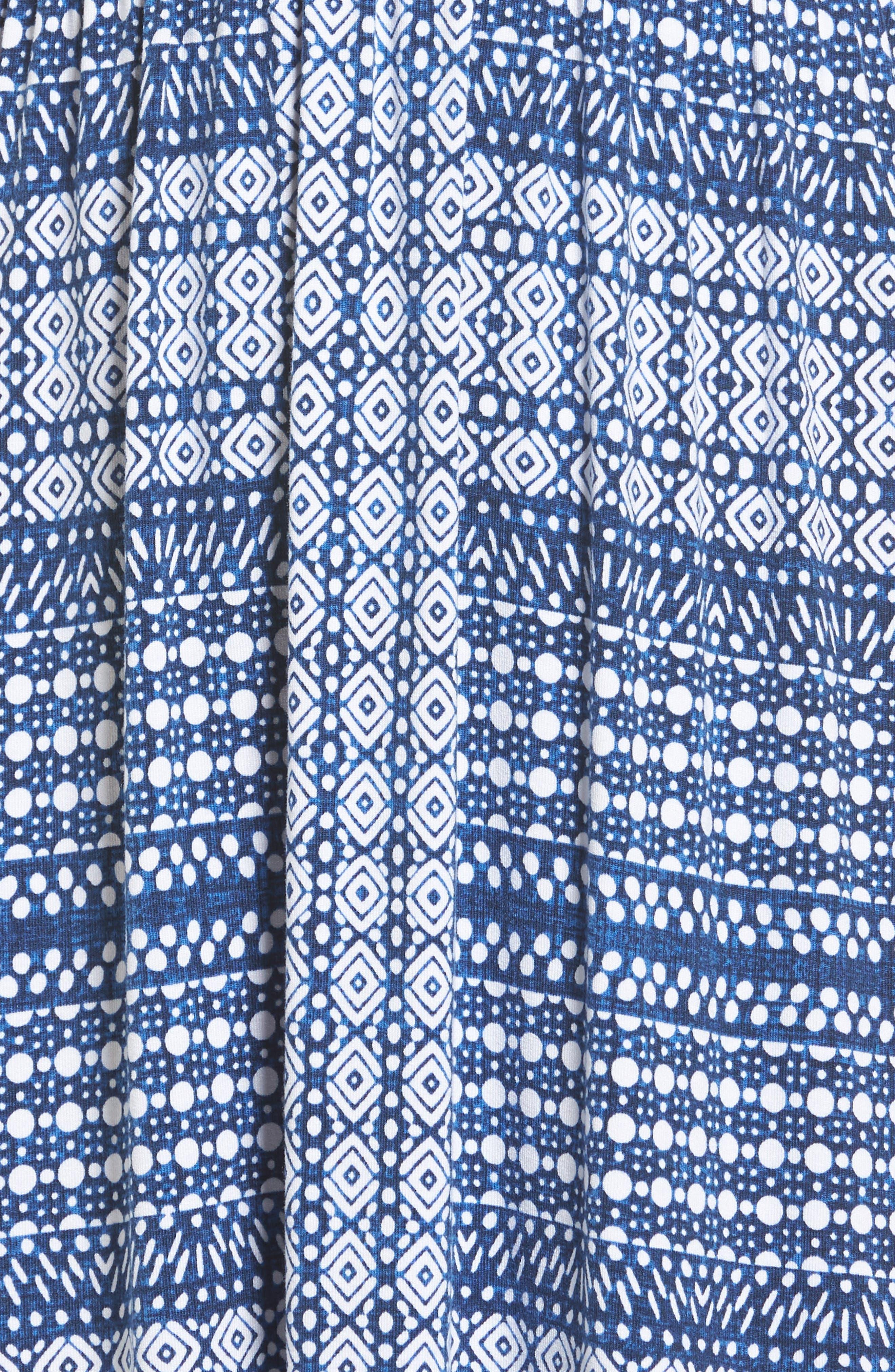 Greek Grid Maxi Dress,                             Alternate thumbnail 5, color,                             Kingdom Blue
