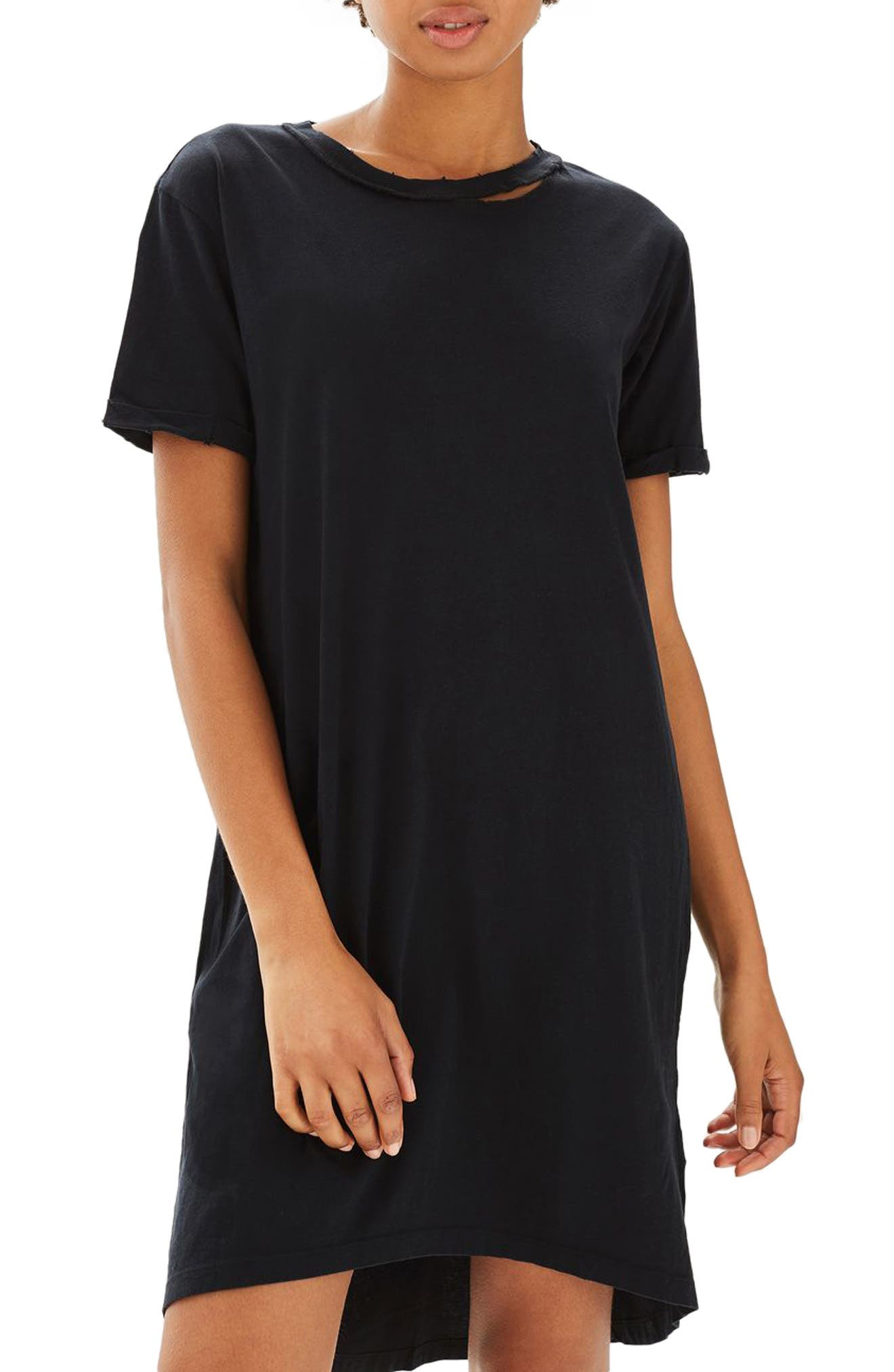 Main Image - Topshop Split Neck T-Shirt Dress