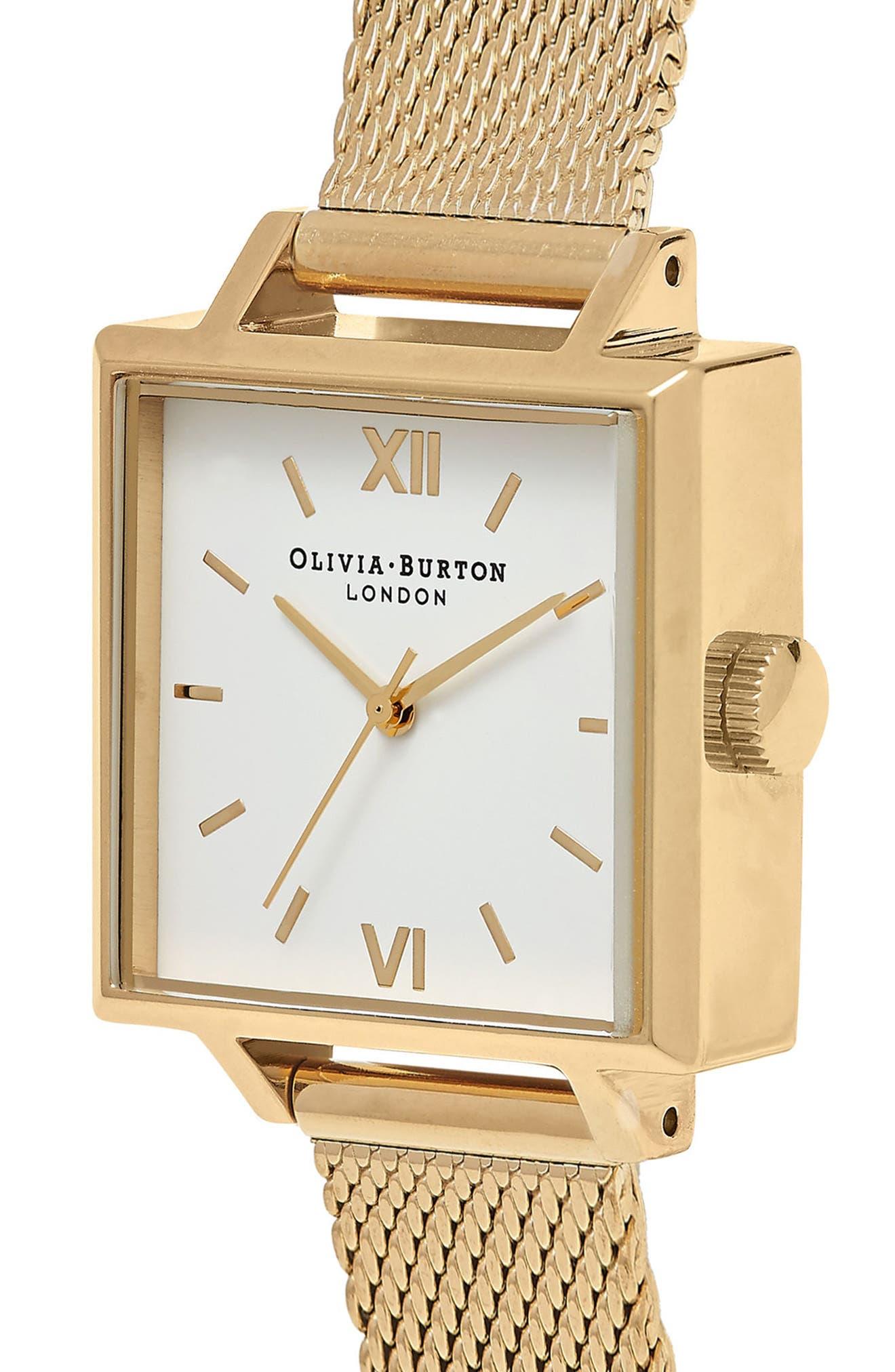 Midi Square Mesh Strap Watch, 22.5mm,                             Alternate thumbnail 3, color,                             Gold/ White/ Gold