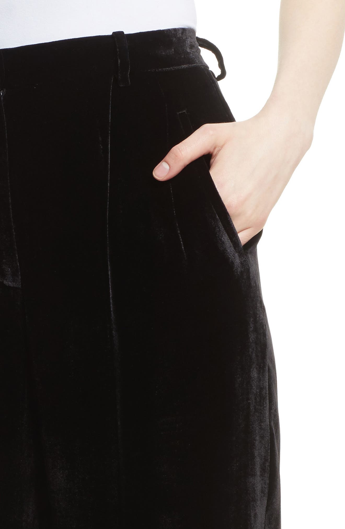 High Waist Luxe Velvet Pants,                             Alternate thumbnail 4, color,                             Black