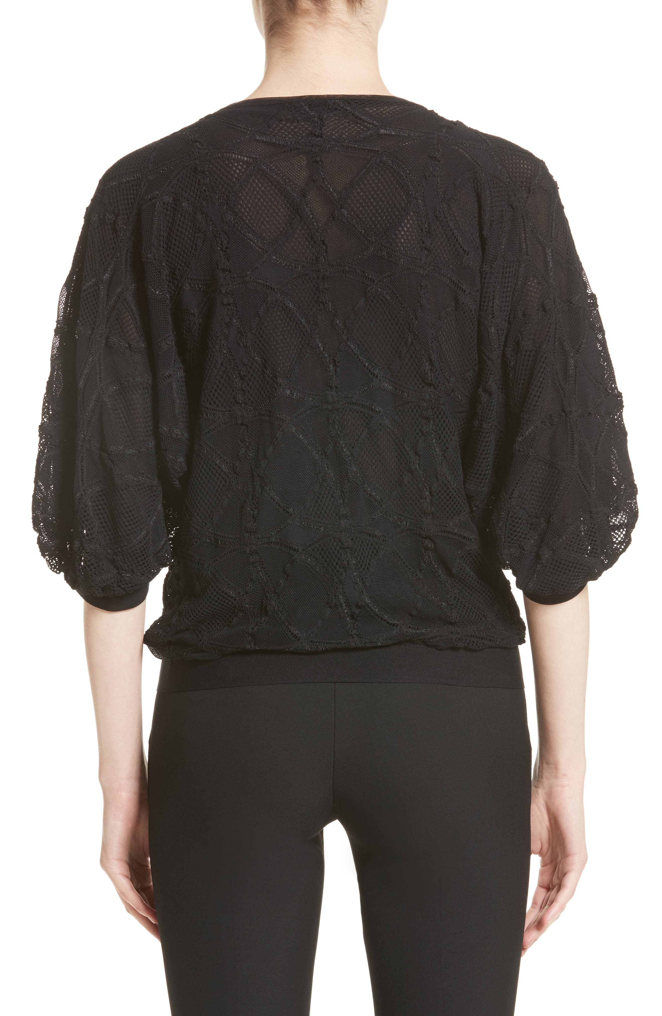 Lace Cocoon Sleeve Top,                             Alternate thumbnail 2, color,                             Nero