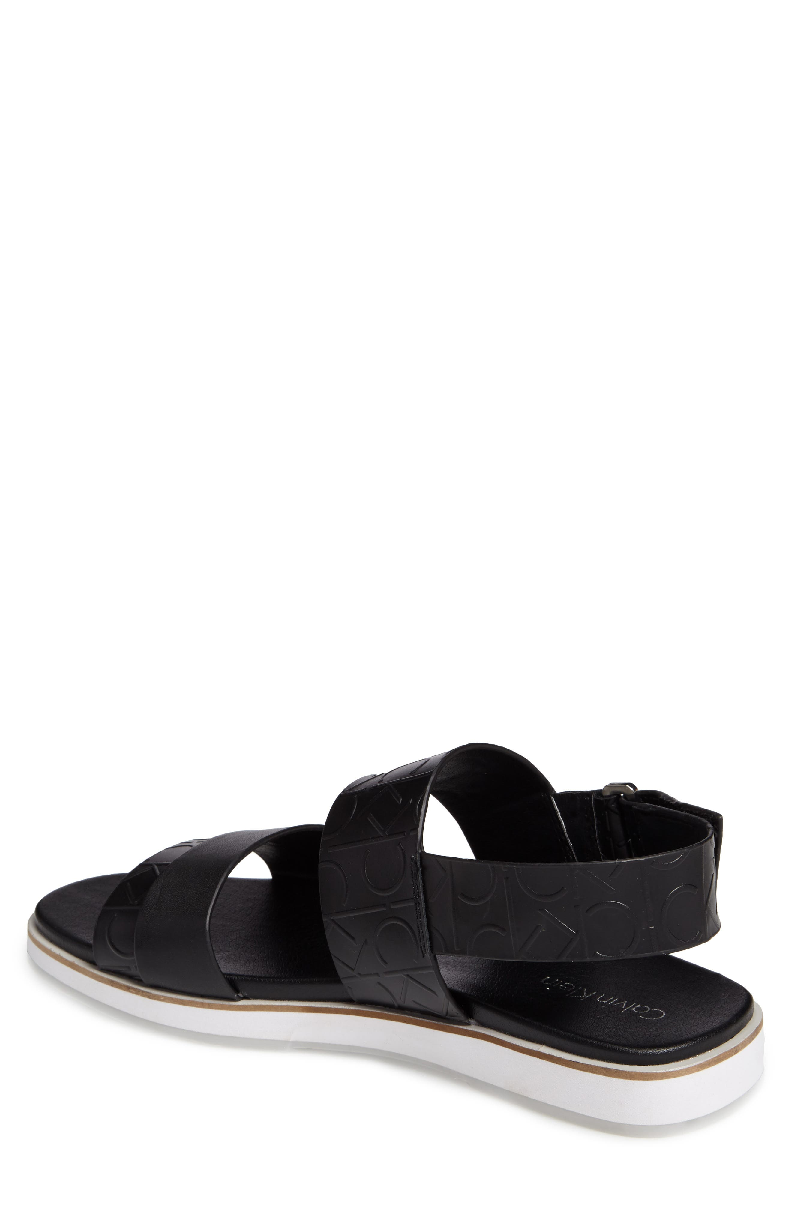 'Dex' Embossed Leather Sandal,                             Alternate thumbnail 2, color,                             Black/Black