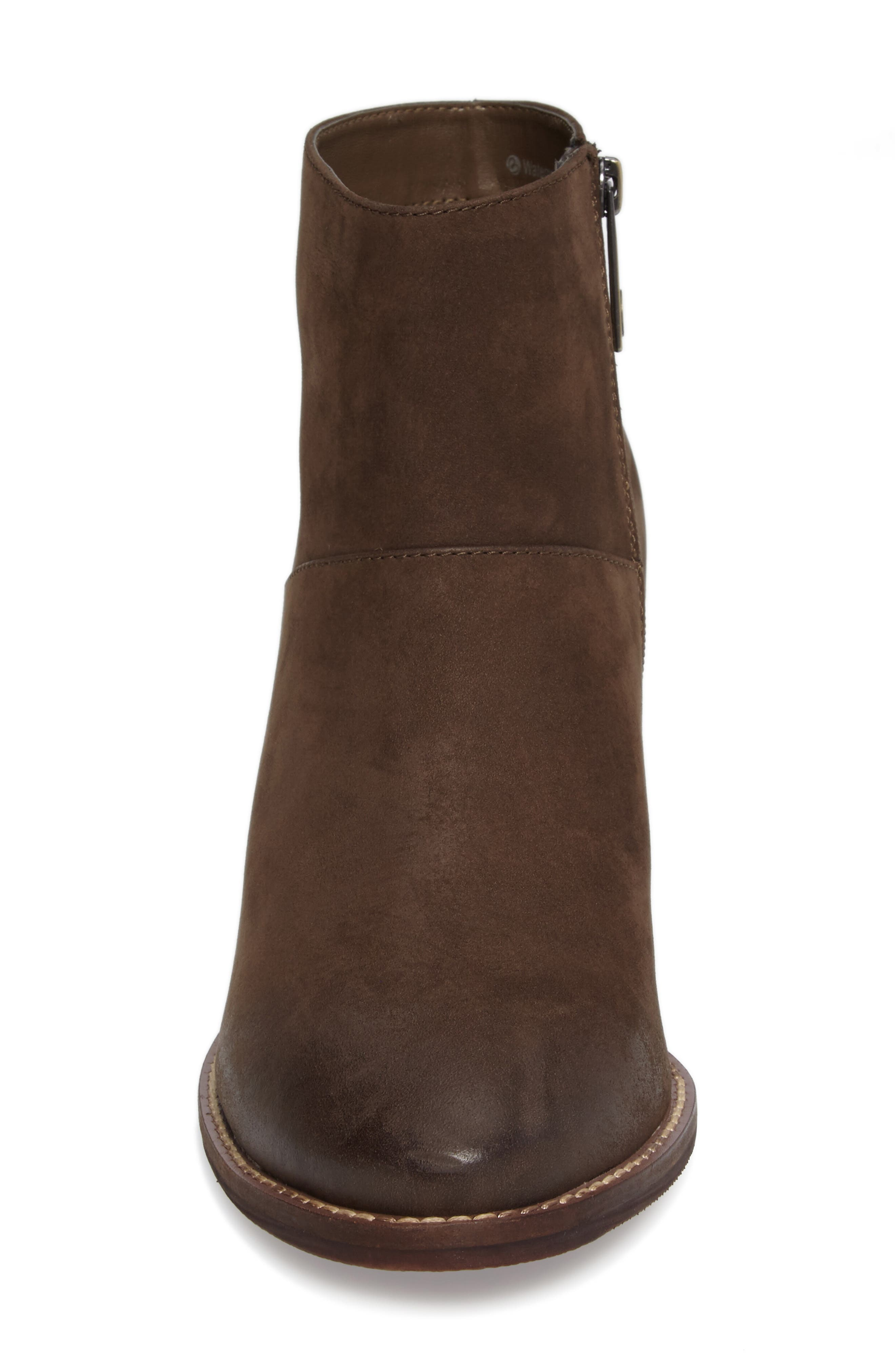 Nelli Waterproof Bootie,                             Alternate thumbnail 4, color,                             Taupe Nubuck Leather