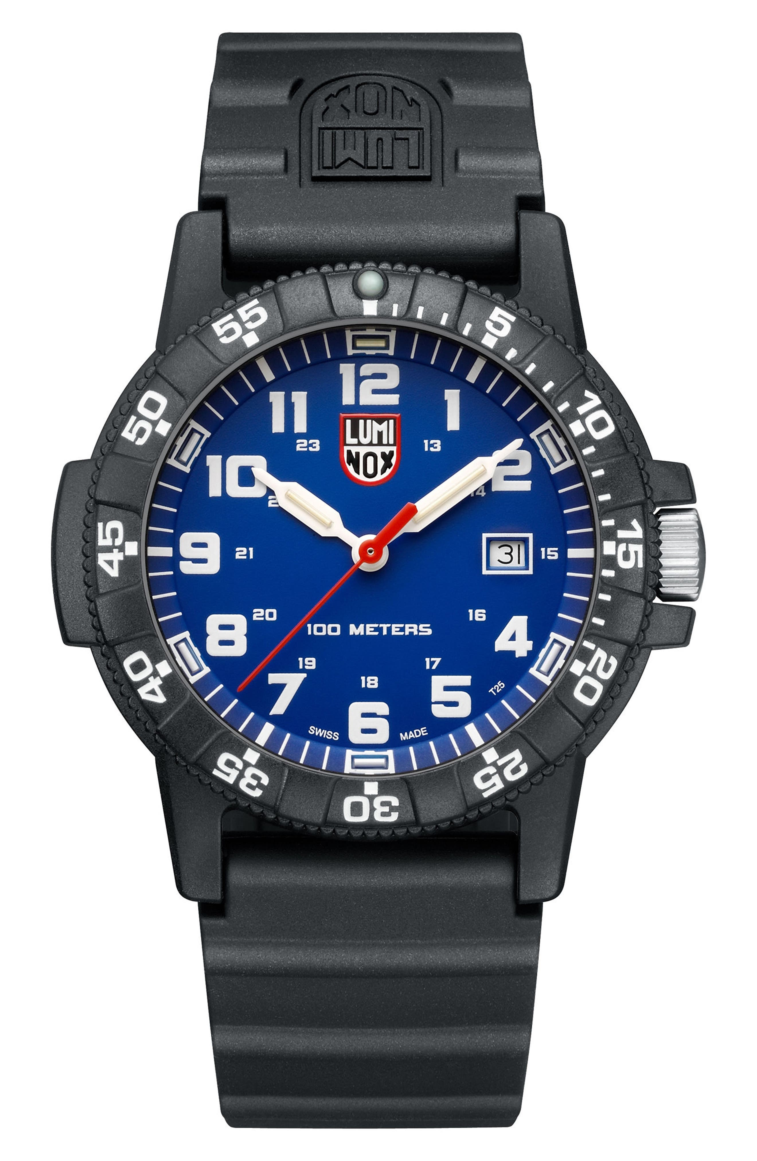 Sea Turtle 0320 Polyurethane Strap Watch, 44mm,                             Main thumbnail 1, color,                             Blue/ Black
