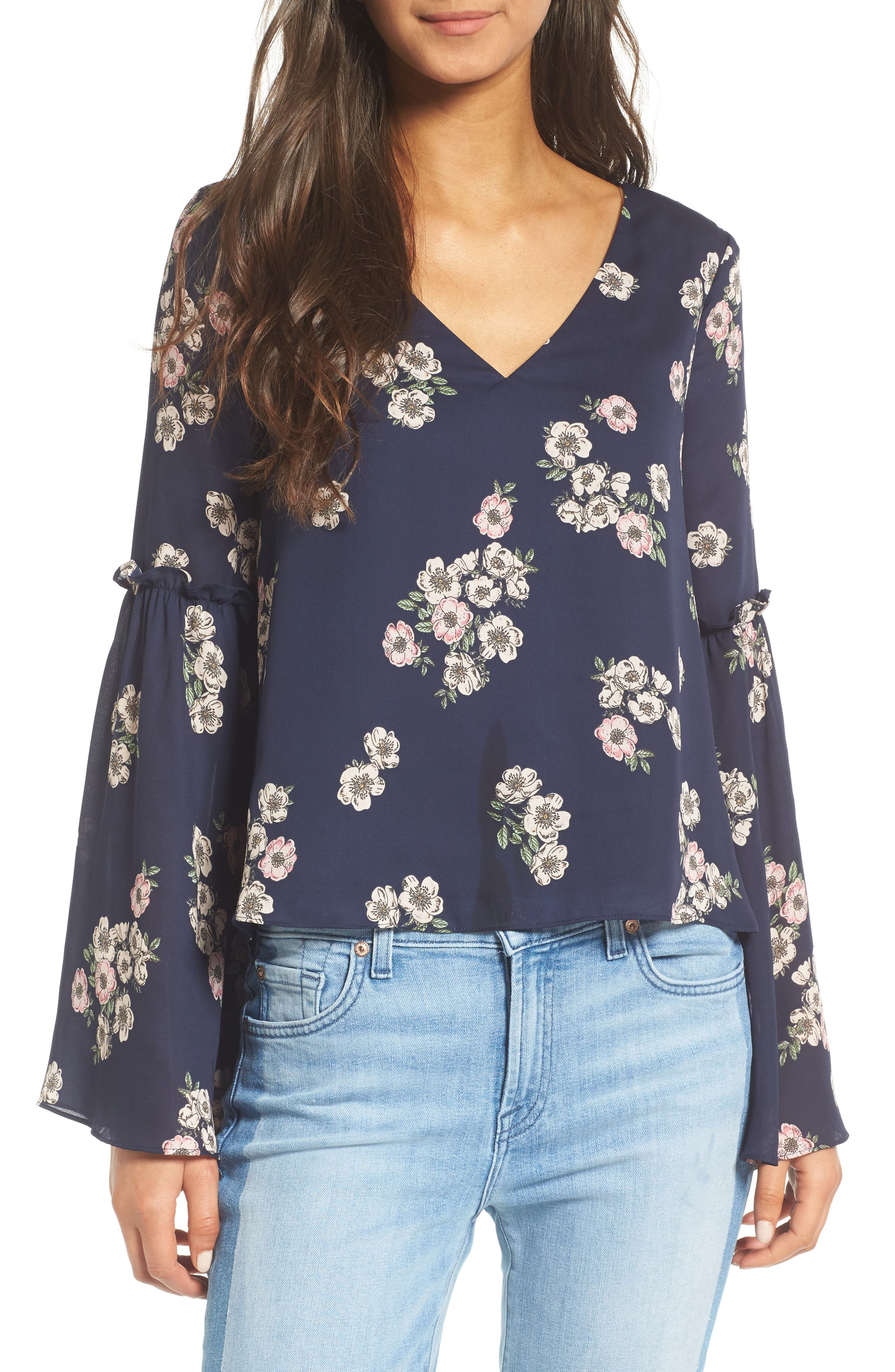 Audriana Bell Sleeve Top,                             Main thumbnail 1, color,                             Ink