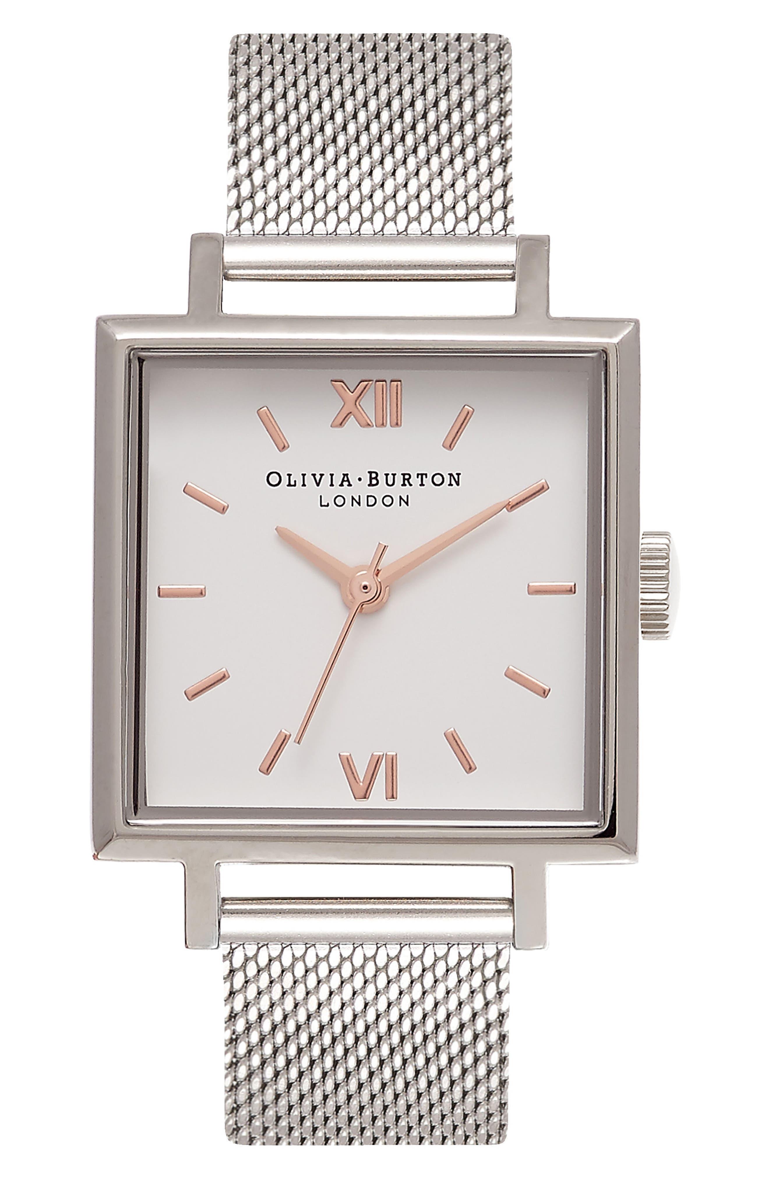 Big Square Mesh Strap Watch, 30mm,                         Main,                         color, Silver/ White/ Silver