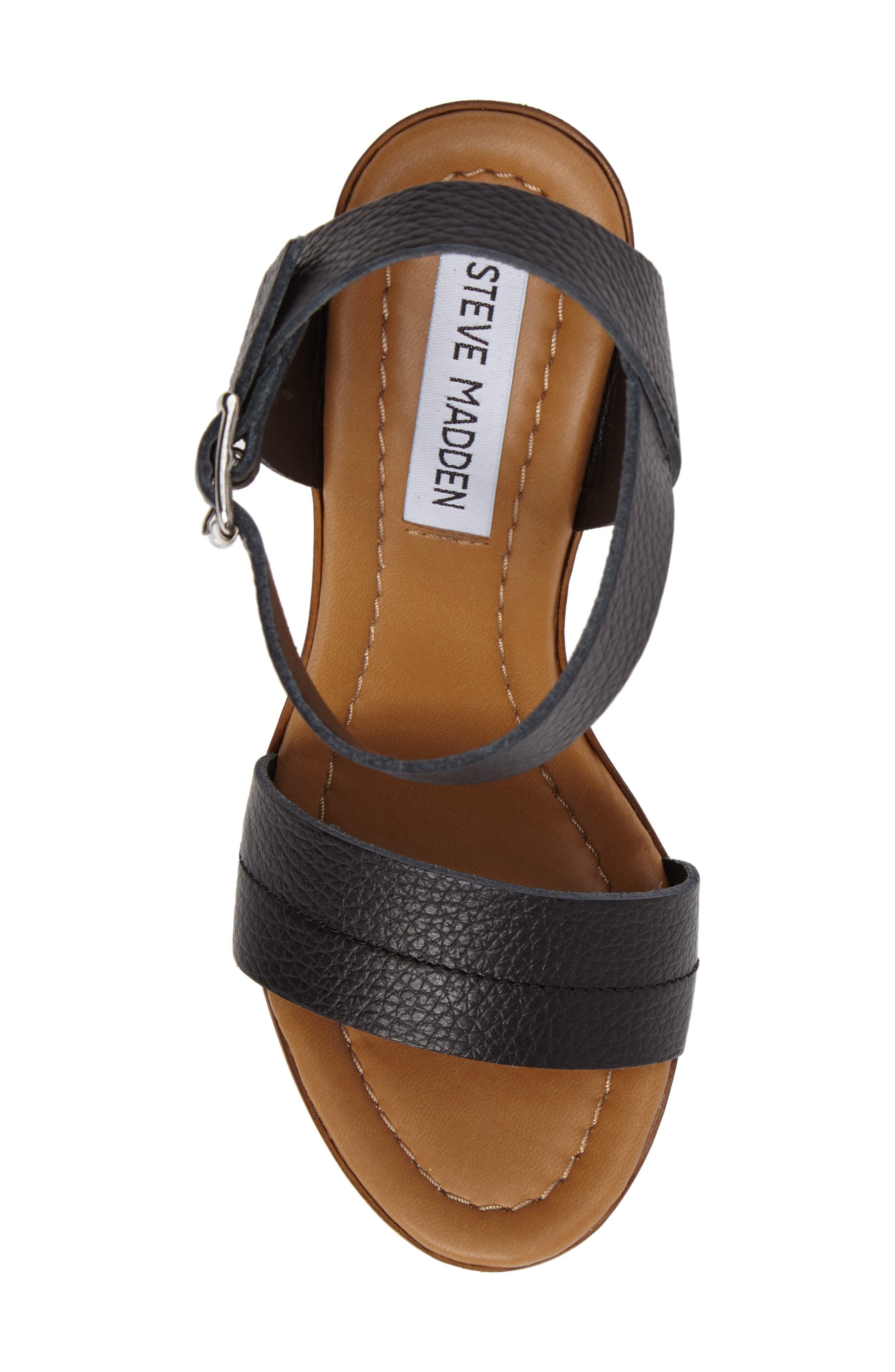Belma Wedge Sandal,                             Alternate thumbnail 5, color,                             Black Leather