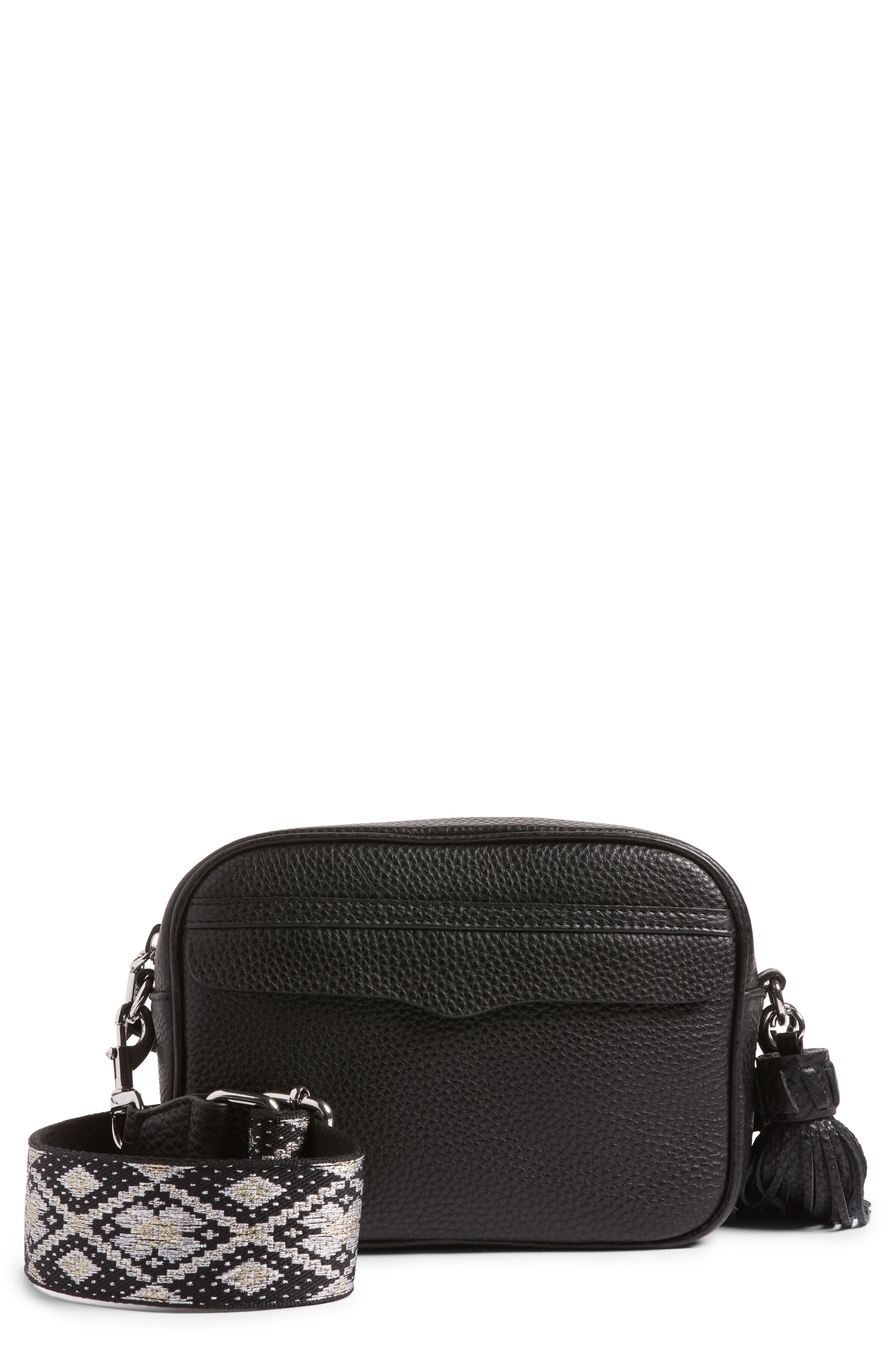 Leather Camera Bag with Guitar Strap,                             Main thumbnail 1, color,                             Black/ Silver Hardware