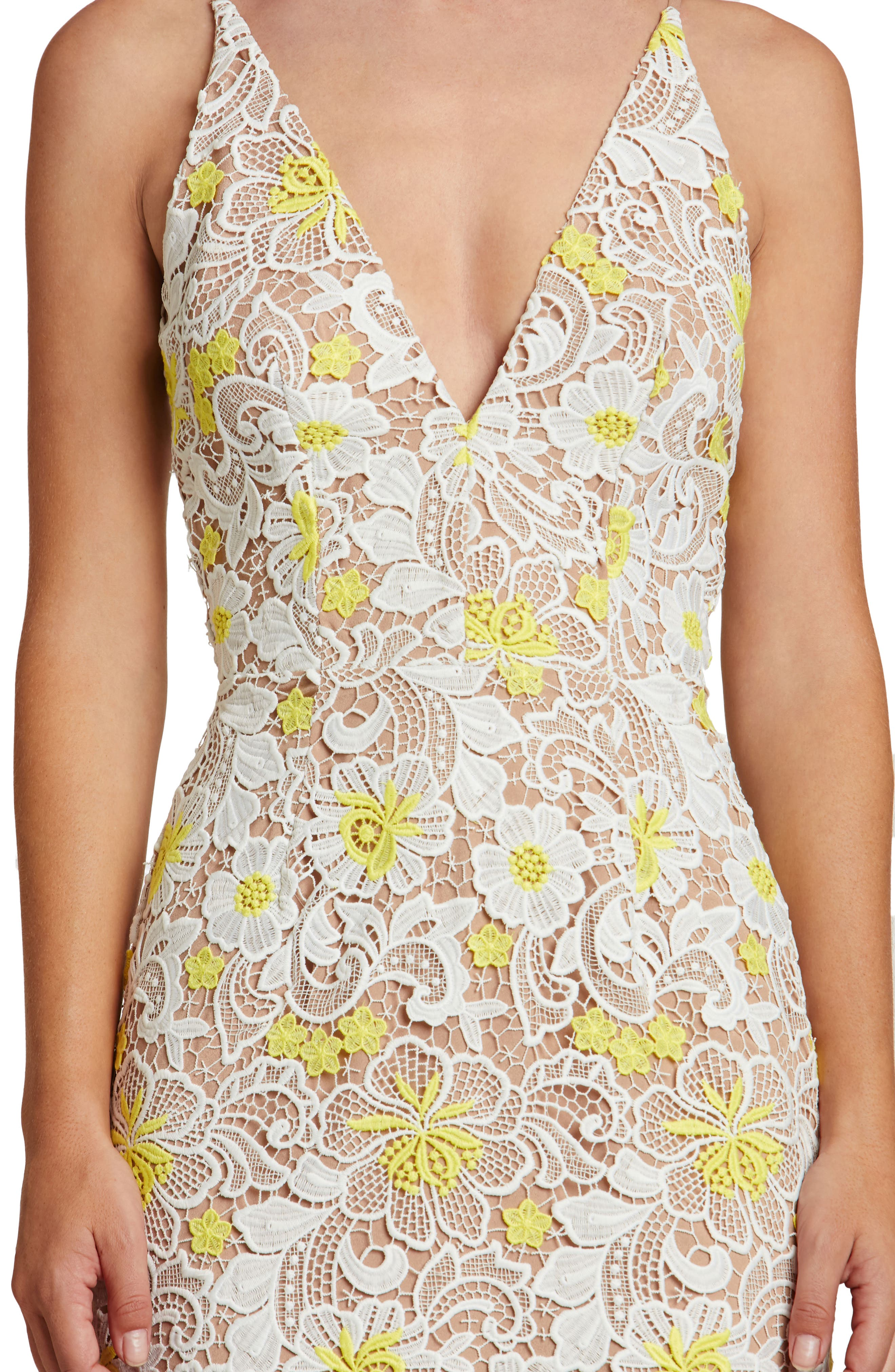Aurora Floral Midi Dress,                             Alternate thumbnail 4, color,                             White/ Yellow Floral