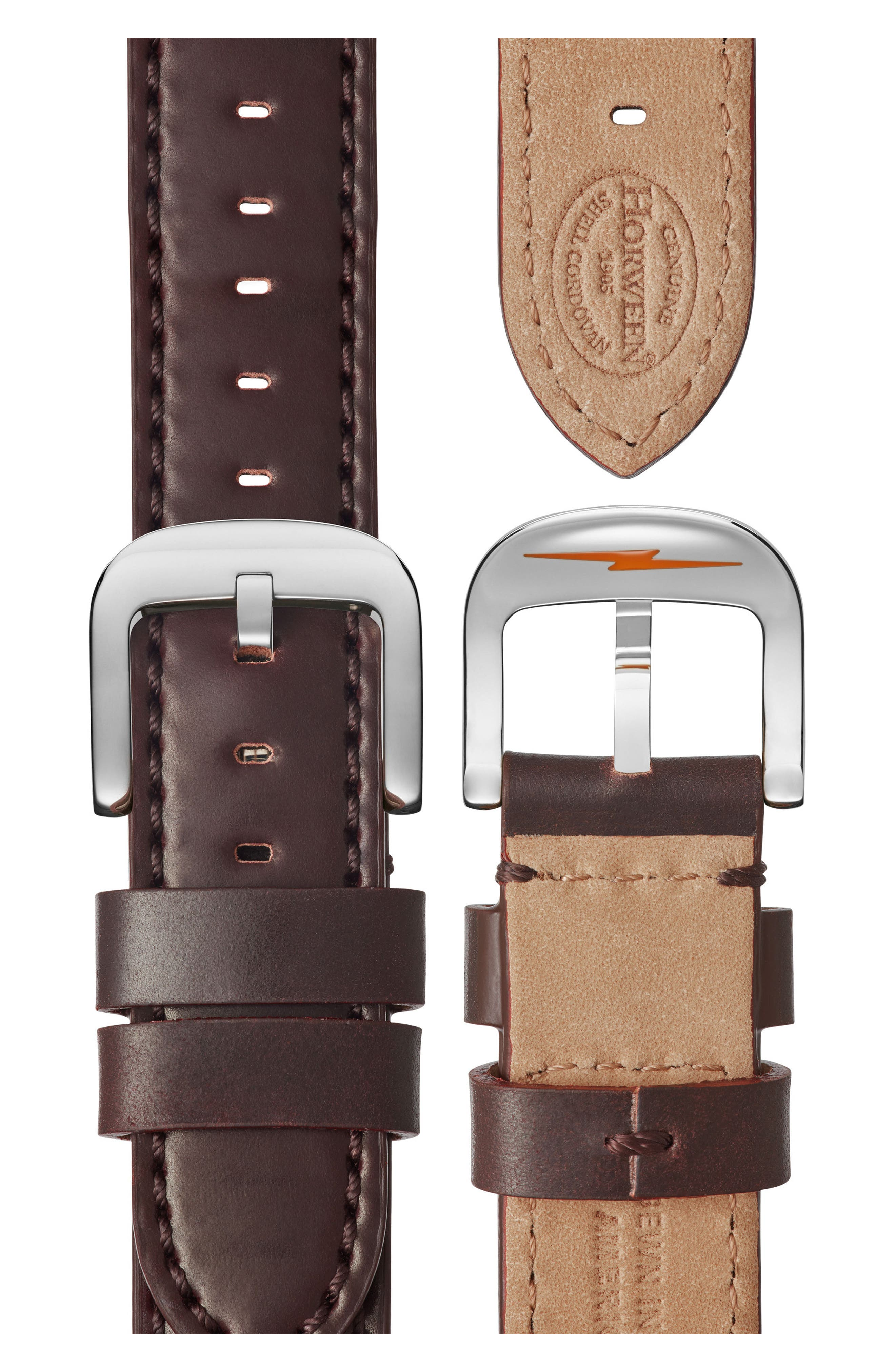 Bedrock Leather Strap Watch, 42mm,                             Alternate thumbnail 7, color,                             Oxblood/ White