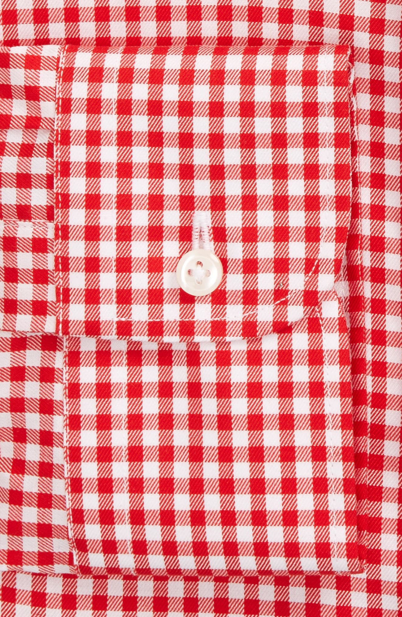 Trim Fit Non-Iron Gingham Dress Shirt,                             Alternate thumbnail 3, color,                             Red Blaze