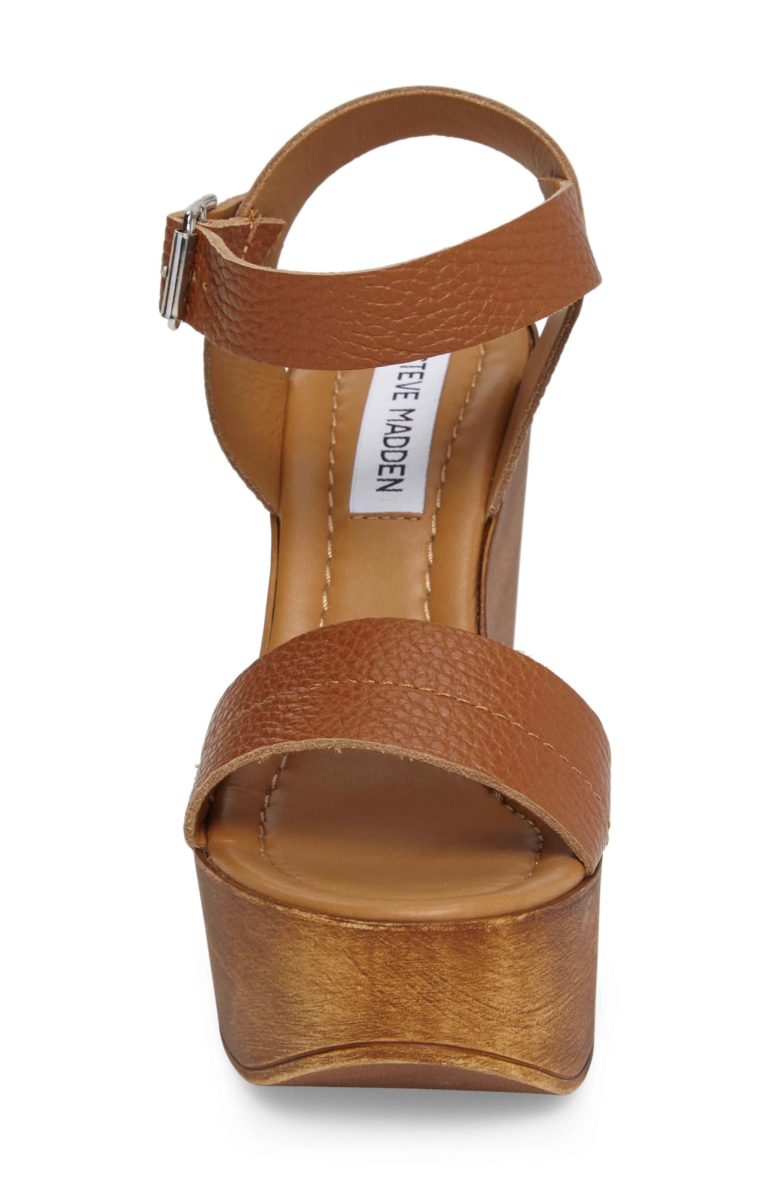 Belma Wedge Sandal,                             Alternate thumbnail 3, color,                             Tan Leather