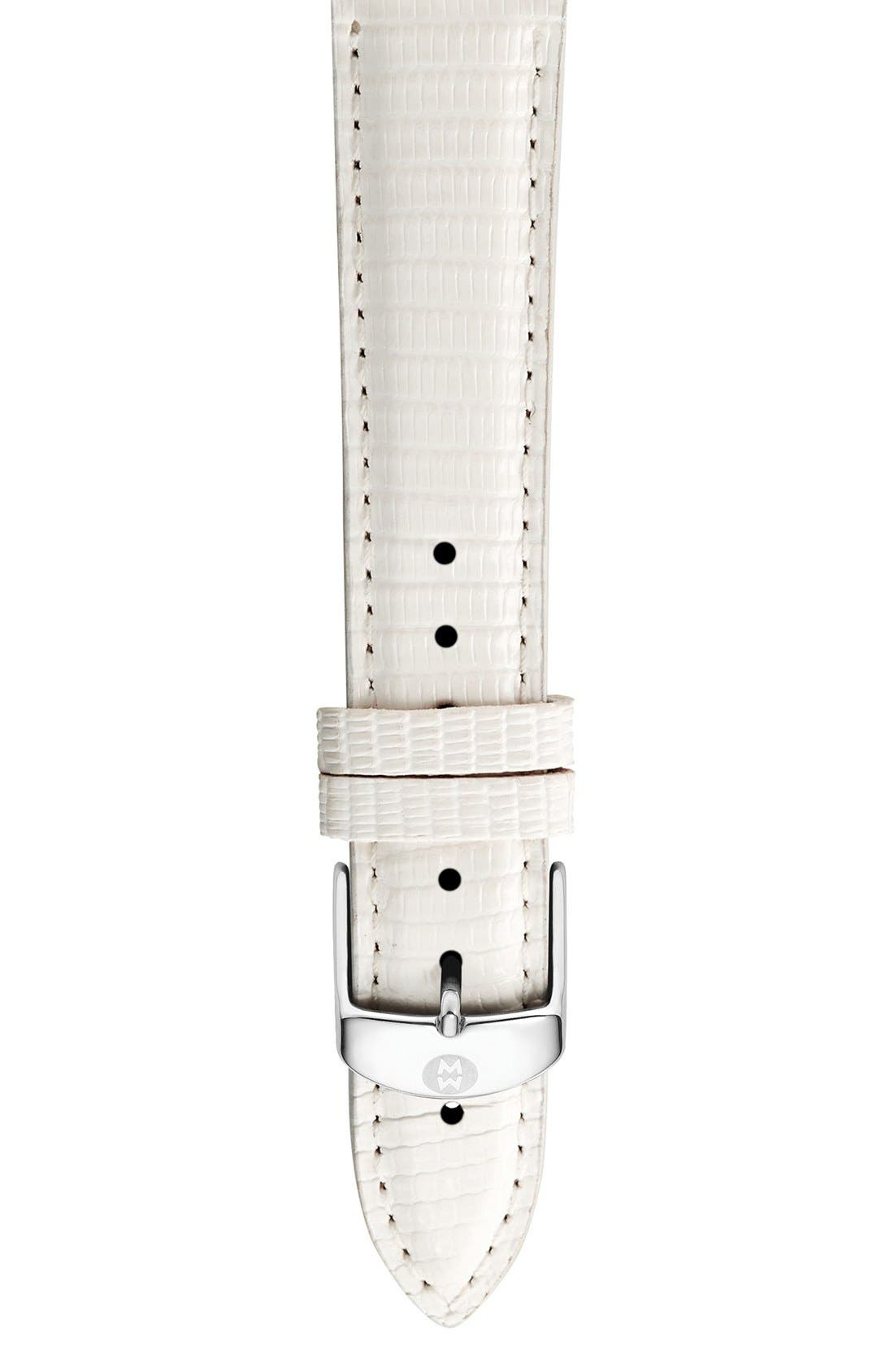 16mm Leather Watch Strap,                         Main,                         color, White Lizard