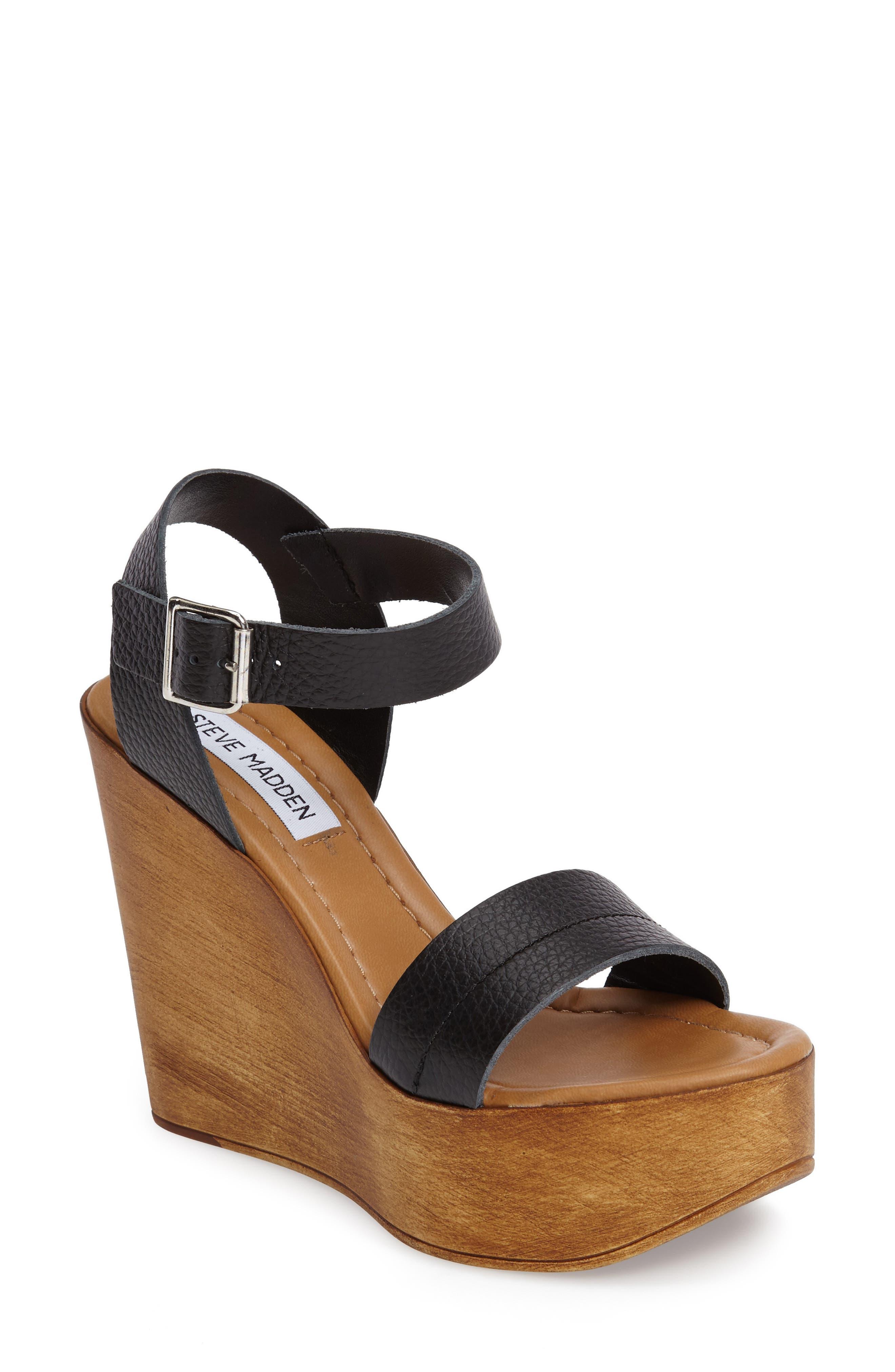 Belma Wedge Sandal,                         Main,                         color, Black Leather