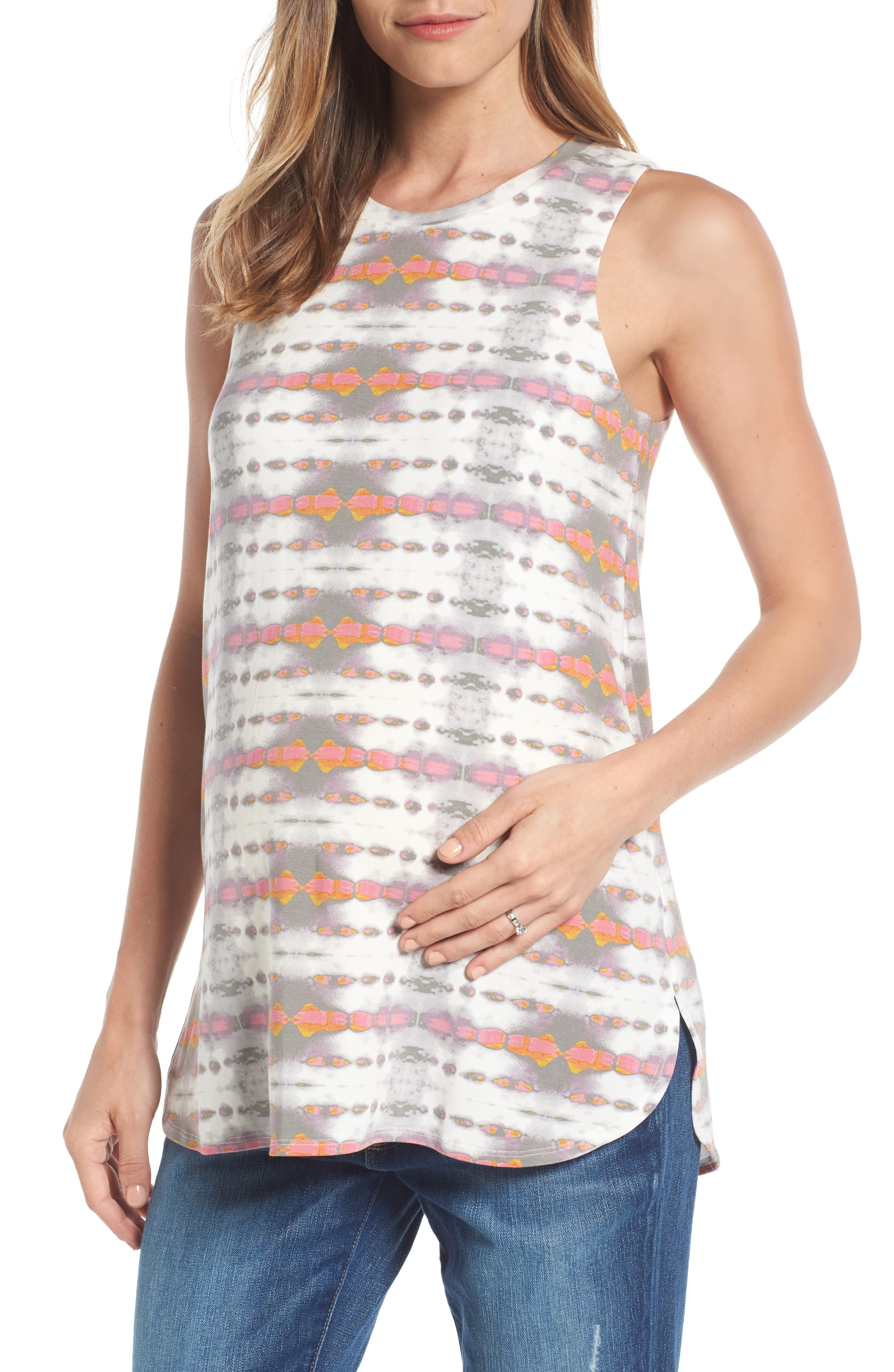 Ursa Maternity Top,                         Main,                         color, Dyed Arrow Stripe