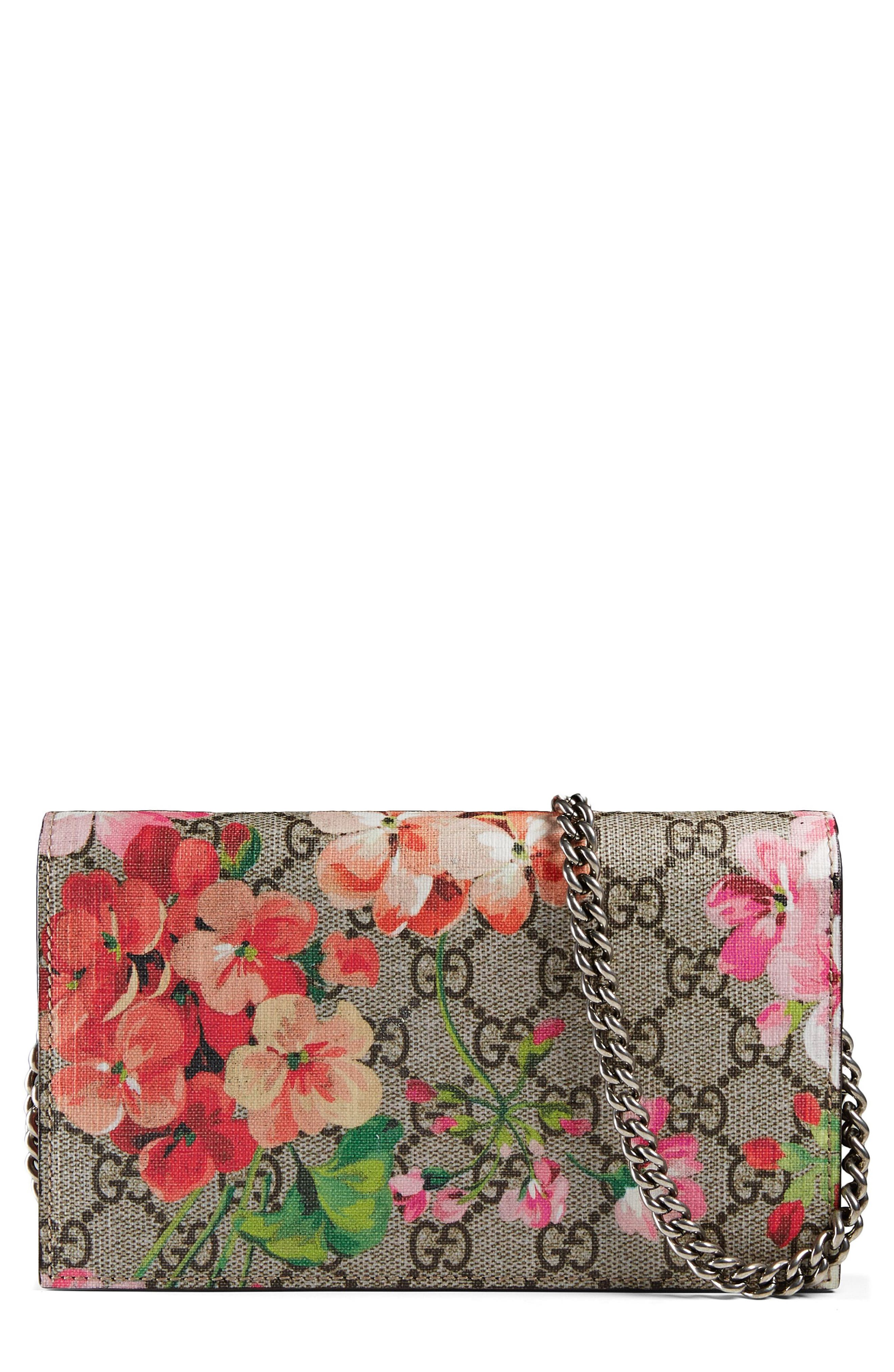 GG Blooms Supreme Canvas Wallet on a Chain,                             Main thumbnail 1, color,                             Beige Ebony Multi/Dry Rose