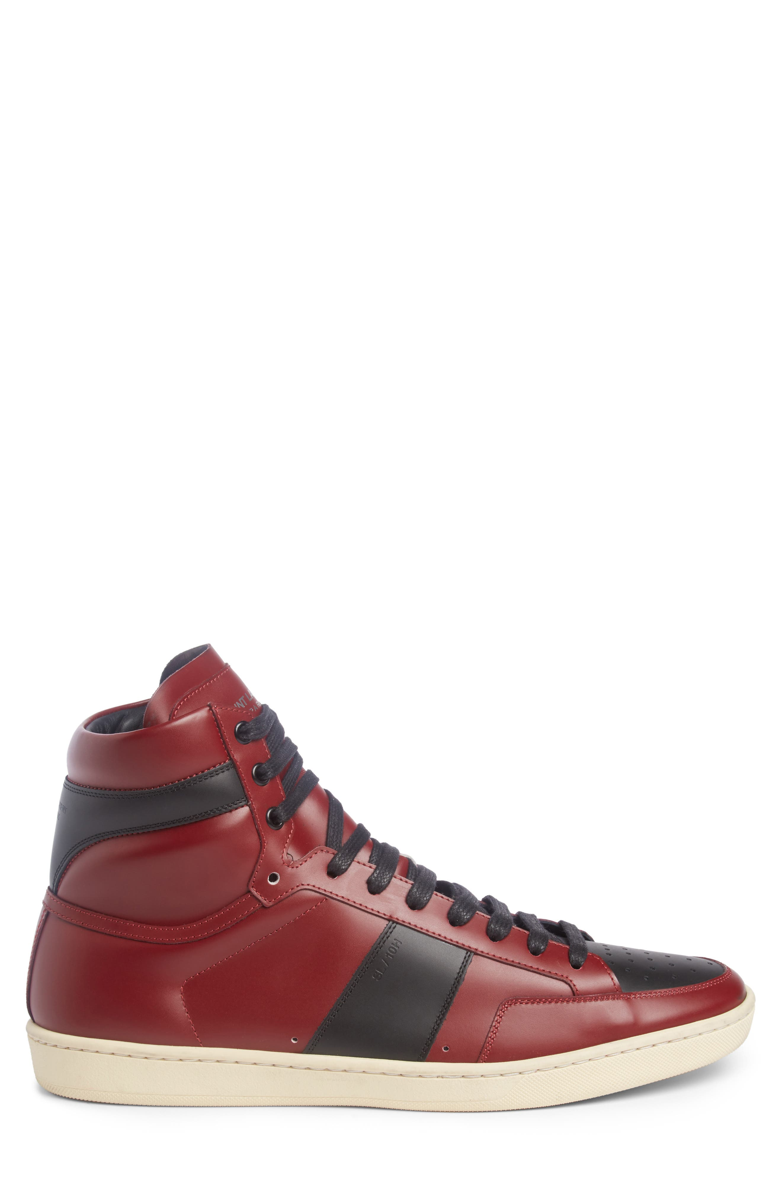 SL/10H Signature Court Classic High-Top Sneaker,                             Alternate thumbnail 3, color,                             Dp Red/ Blk Leather