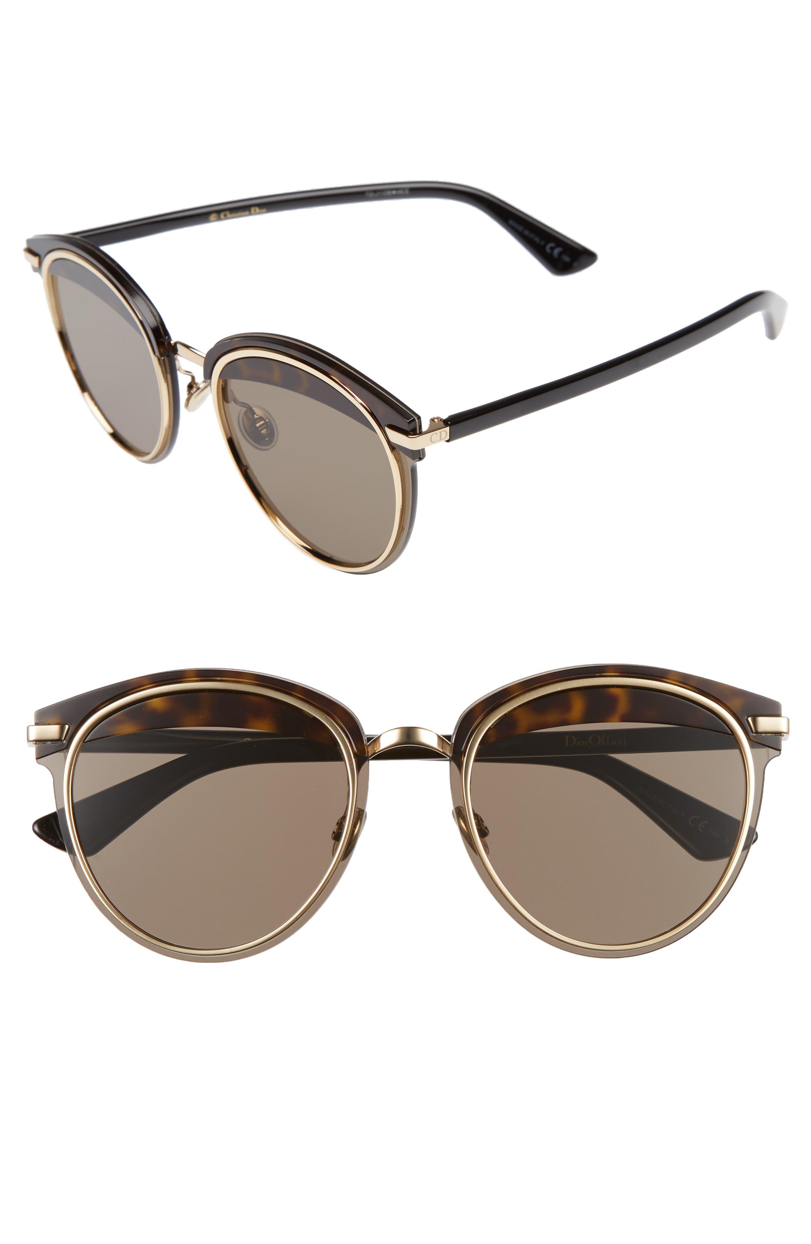 Offset 62mm Round Sunglasses,                         Main,                         color, Havana/ Black