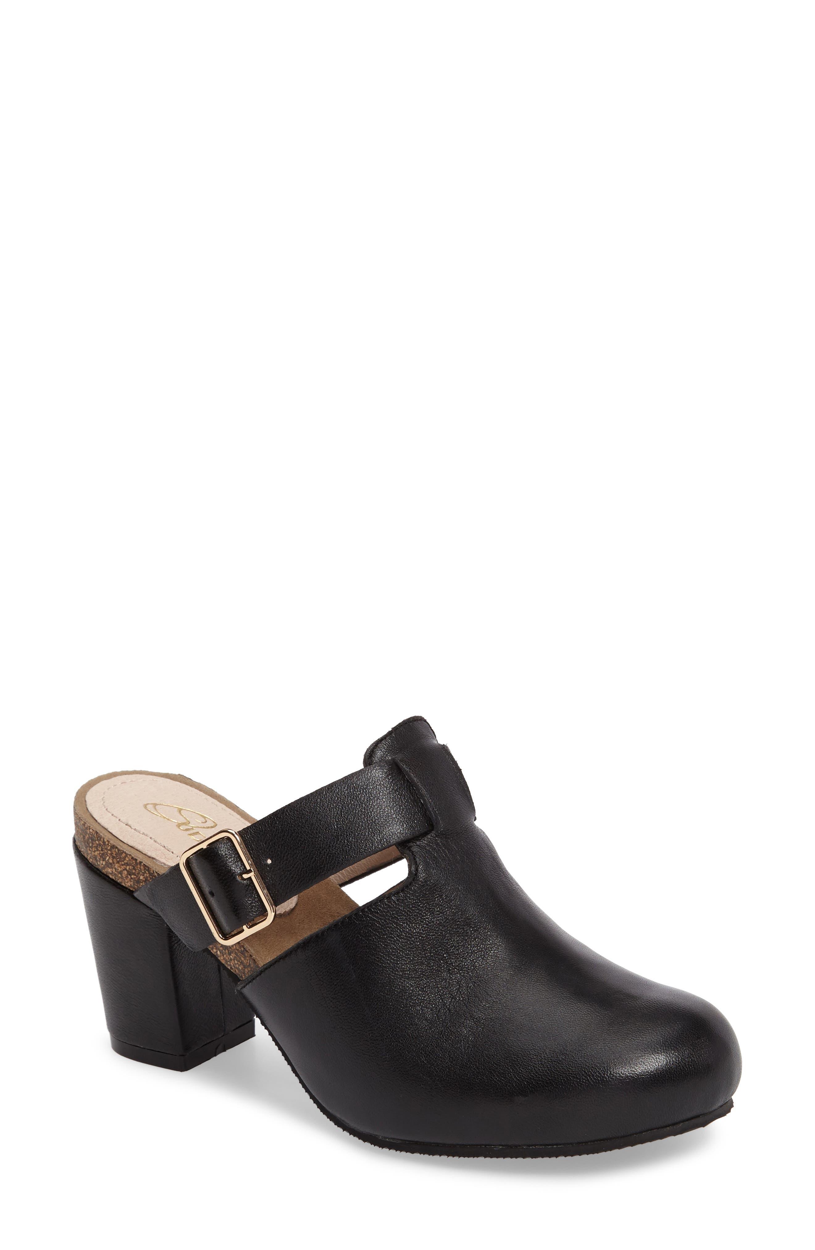 Cindy Block Heel Mule,                         Main,                         color, Black Leather