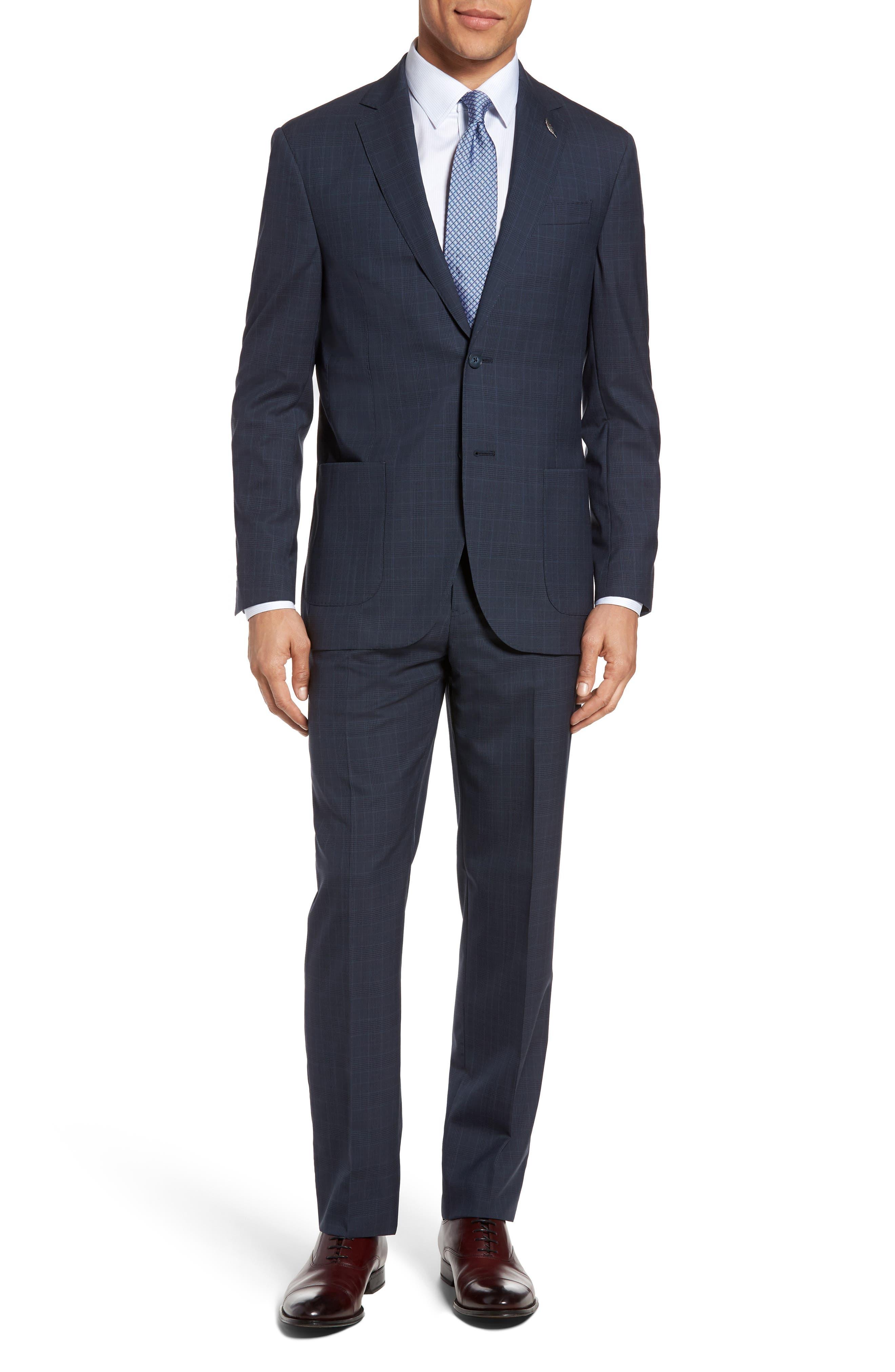 Classic Fit Plaid Wool Suit,                         Main,                         color, Blue Plaid