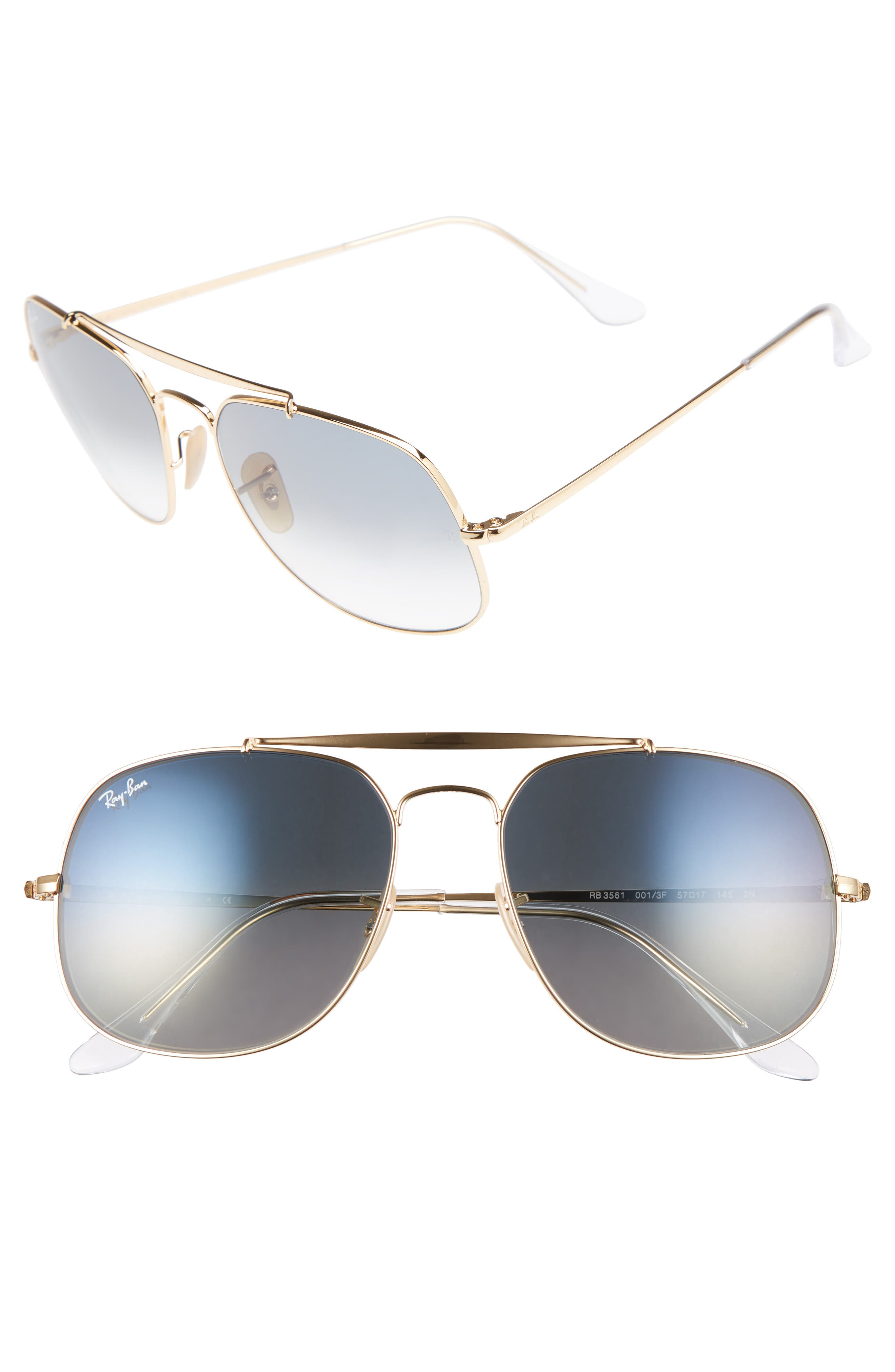 57mm Gradient Lens Square Aviator Sunglasses,                         Main,                         color, Gold/ Blue