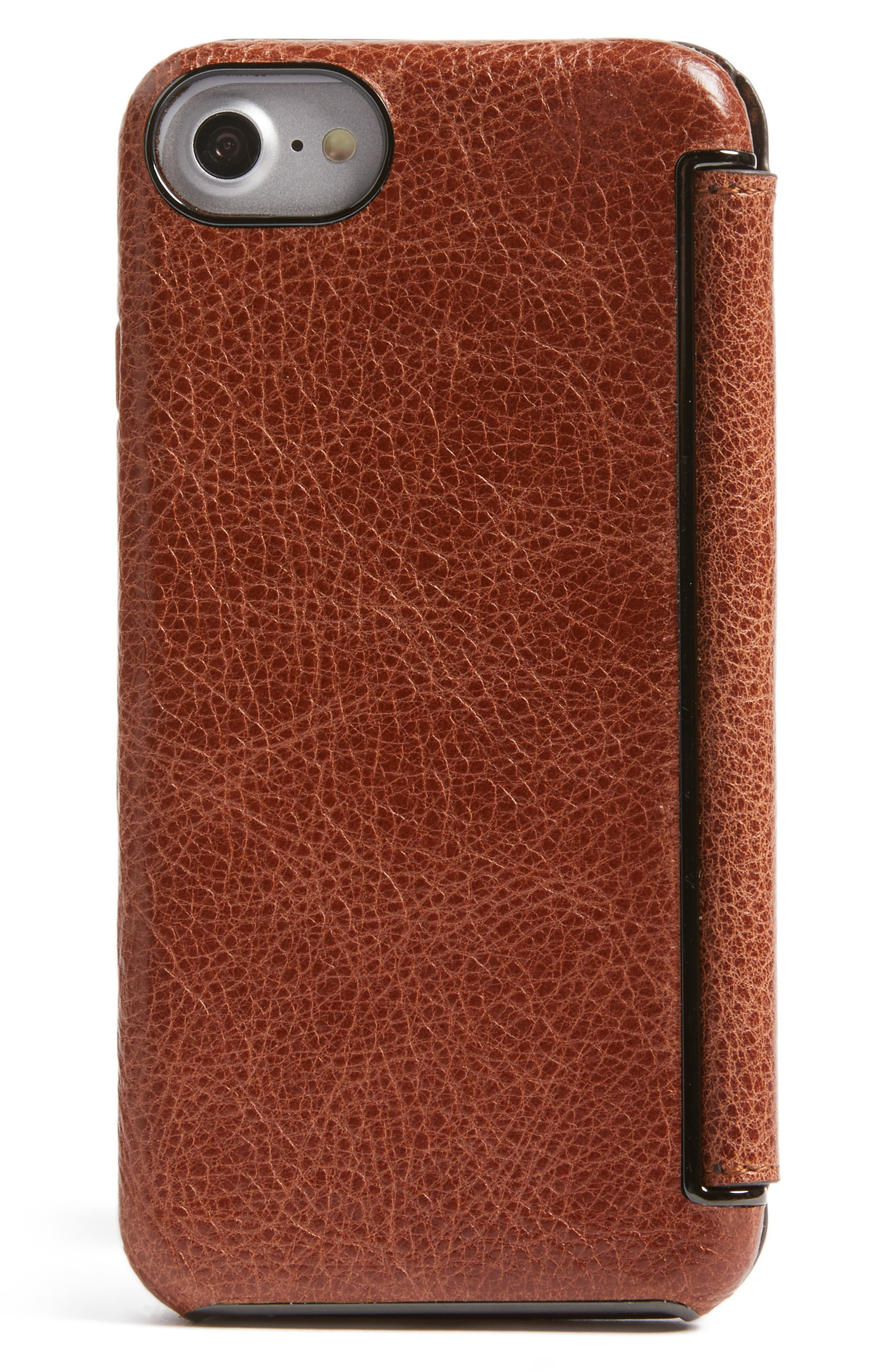 iPhone 7/8Ultra Thin Leather Wallet Case,                             Alternate thumbnail 3, color,                             Cognac
