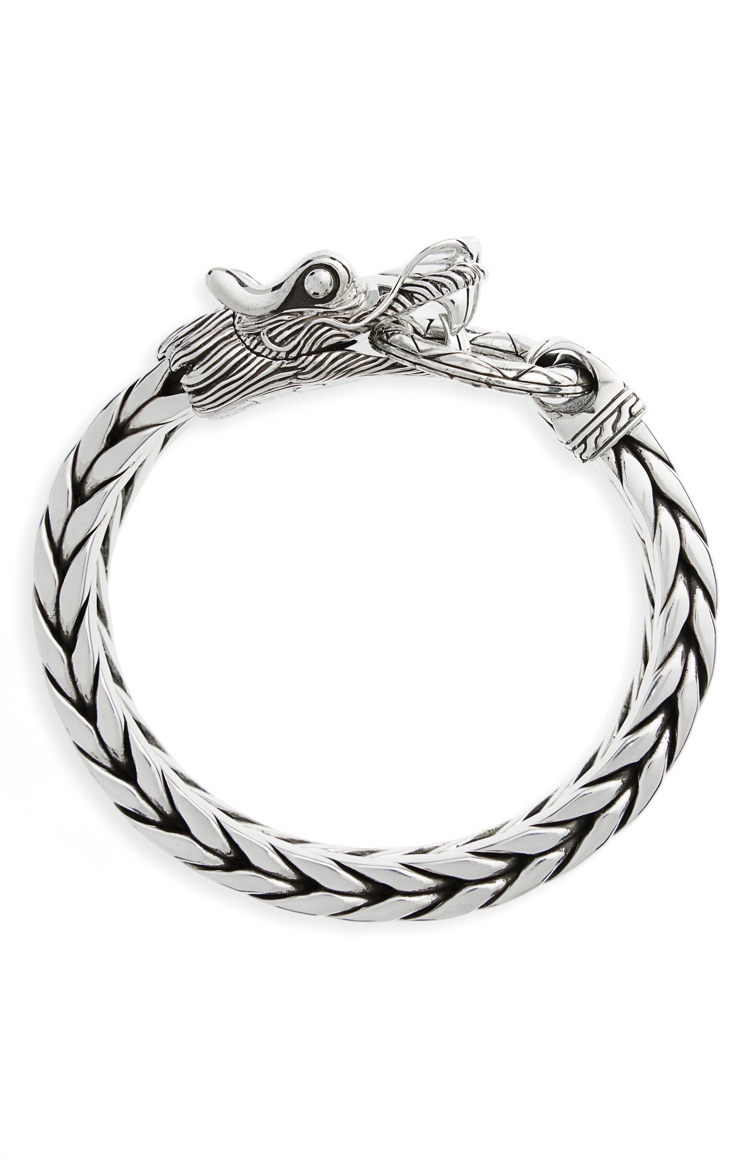 Legends Naga Dragon Head Bracelet,                             Main thumbnail 1, color,                             Silver