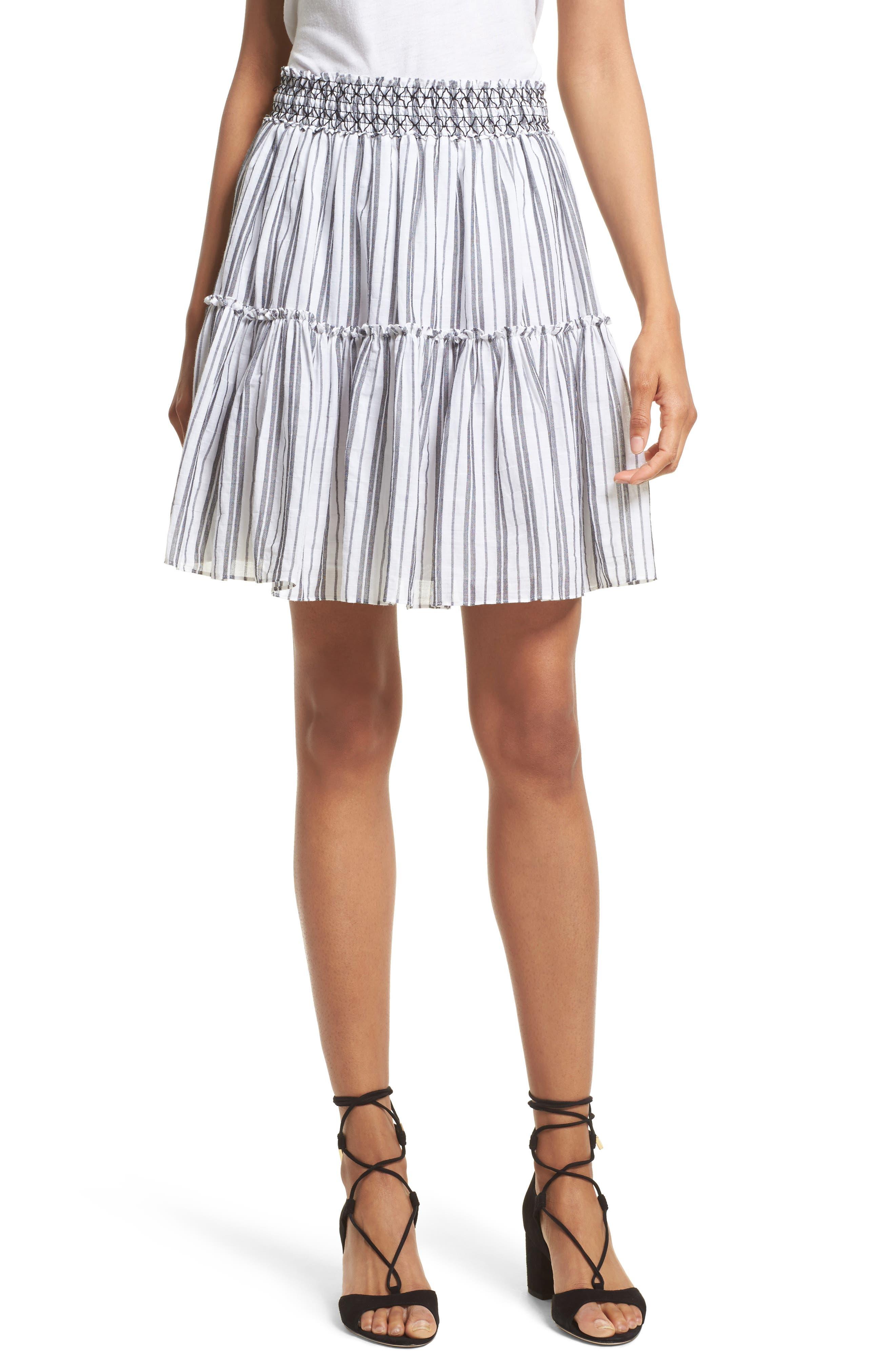 stripe miniskirt,                             Main thumbnail 1, color,                             Fresh White/ Black