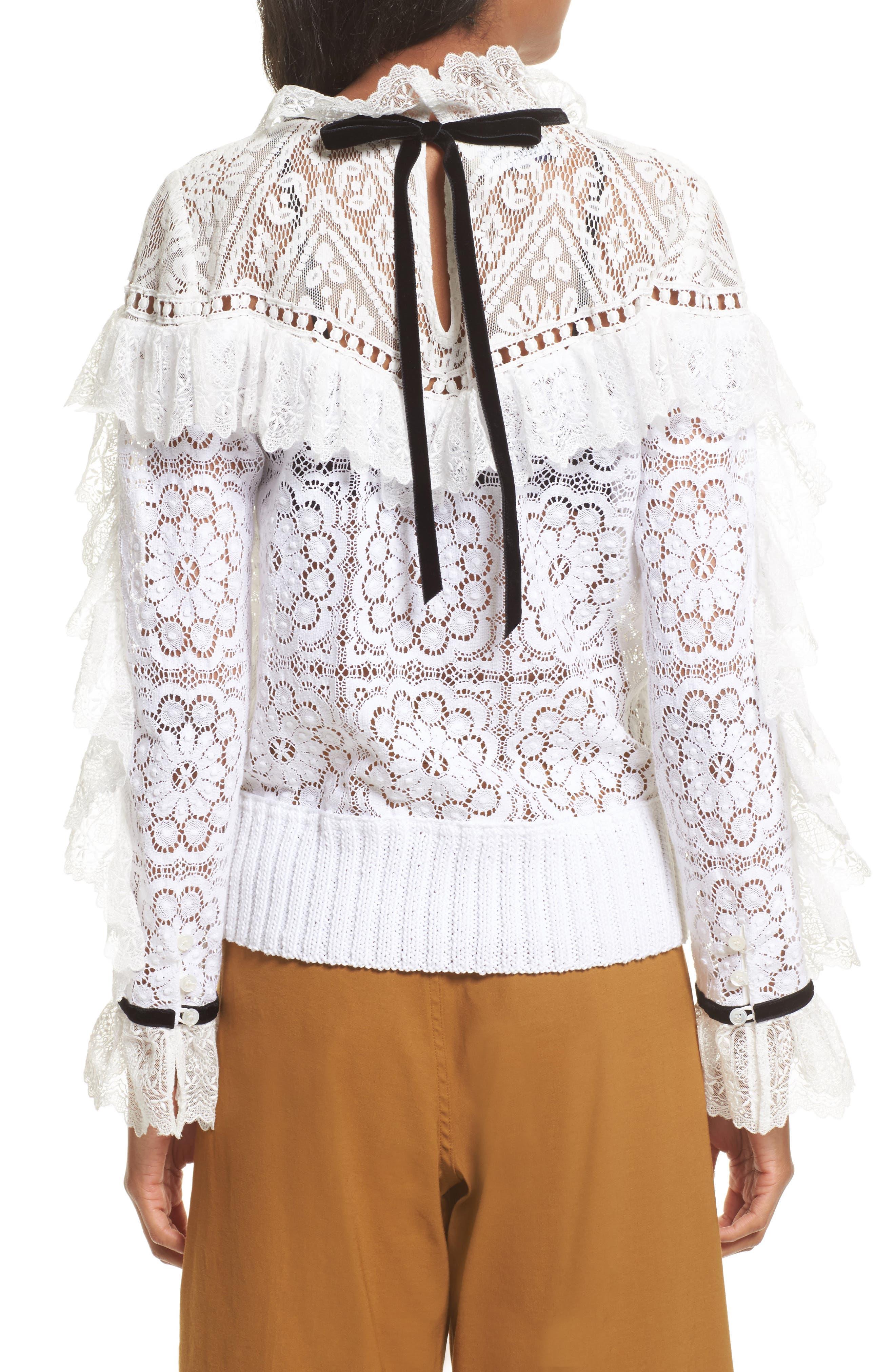 Alternate Image 2  - Sea Ruffle Lace Sweatshirt