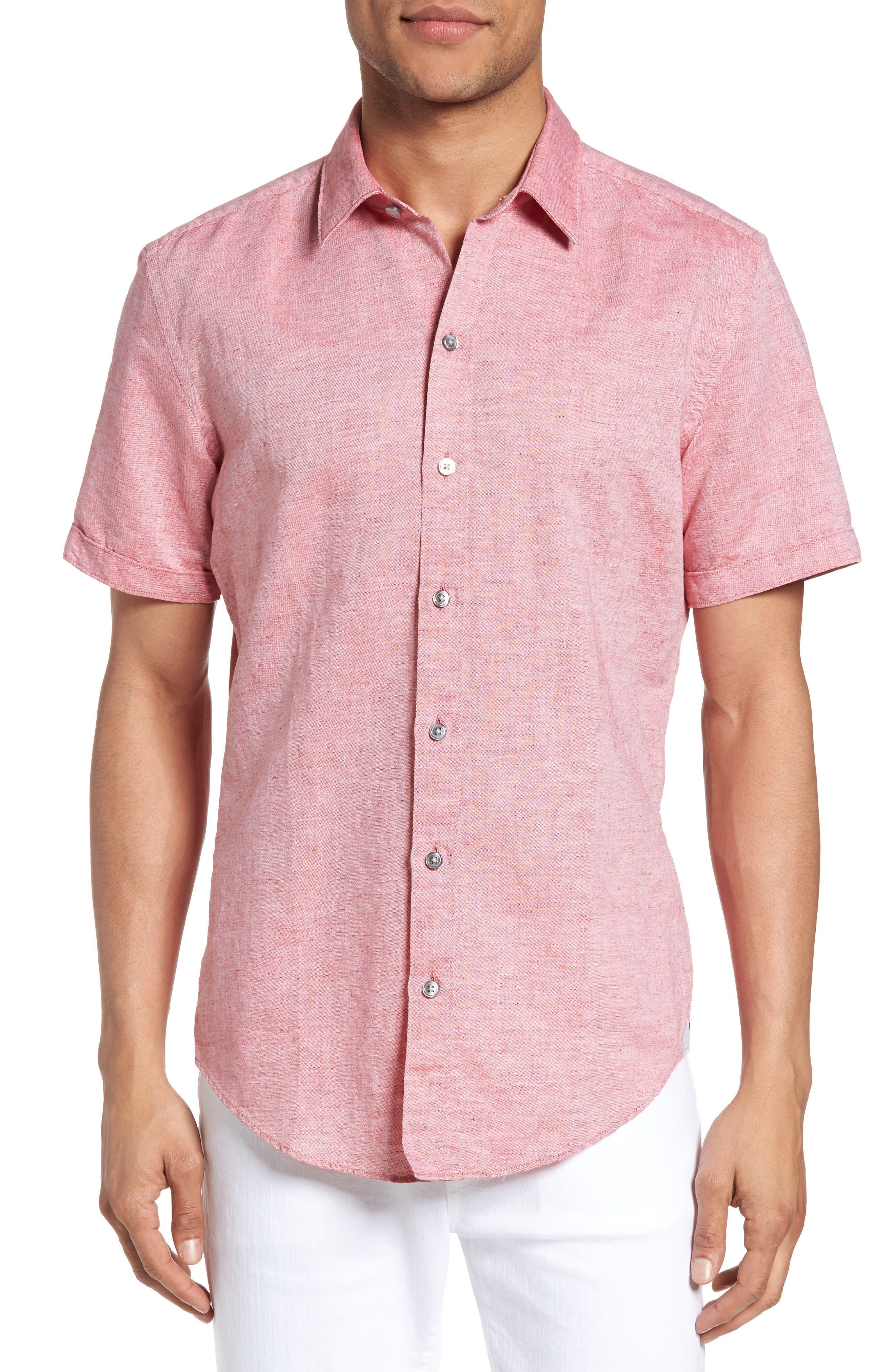 Robbie Slim Fit Linen & Cotton Shirt,                         Main,                         color, Red