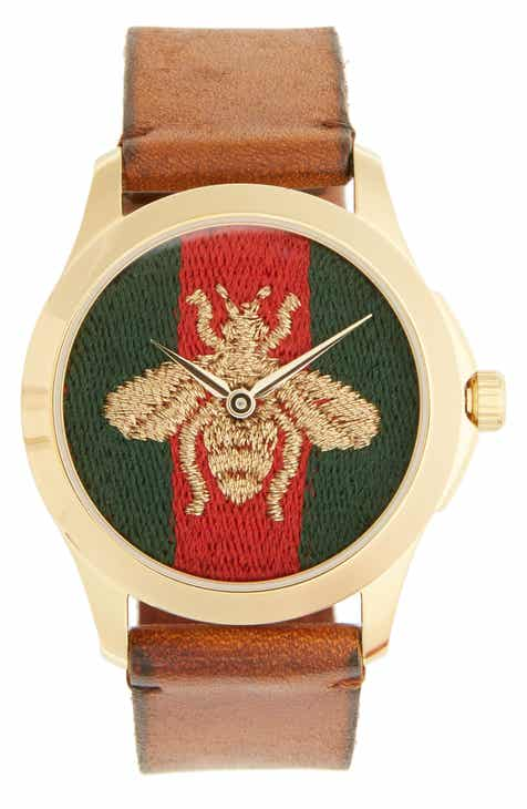 765618f92f4 Gucci Bee Insignia Leather Strap Watch