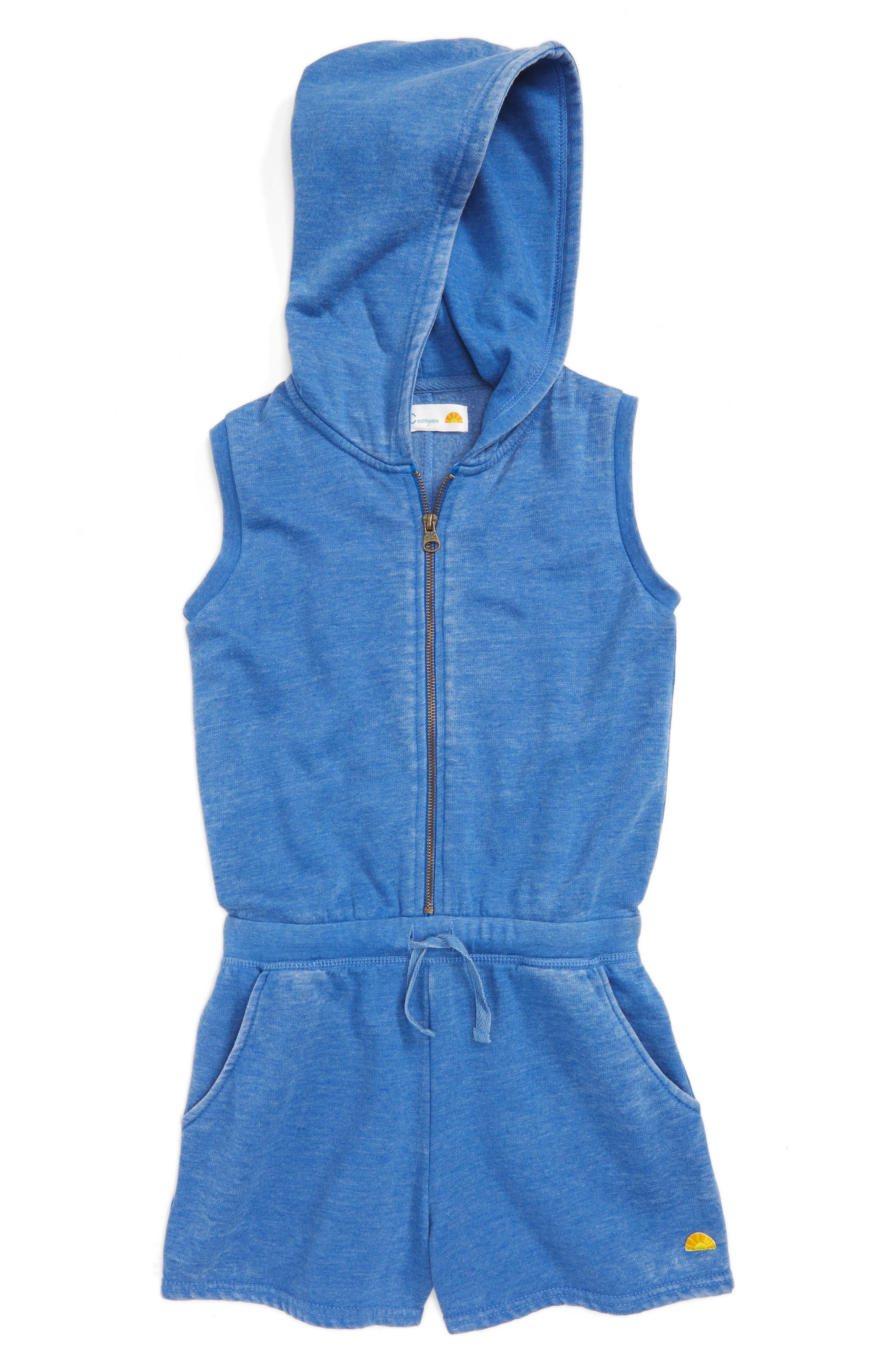 C & C California Acid Washed Fleece Hoodie Romper