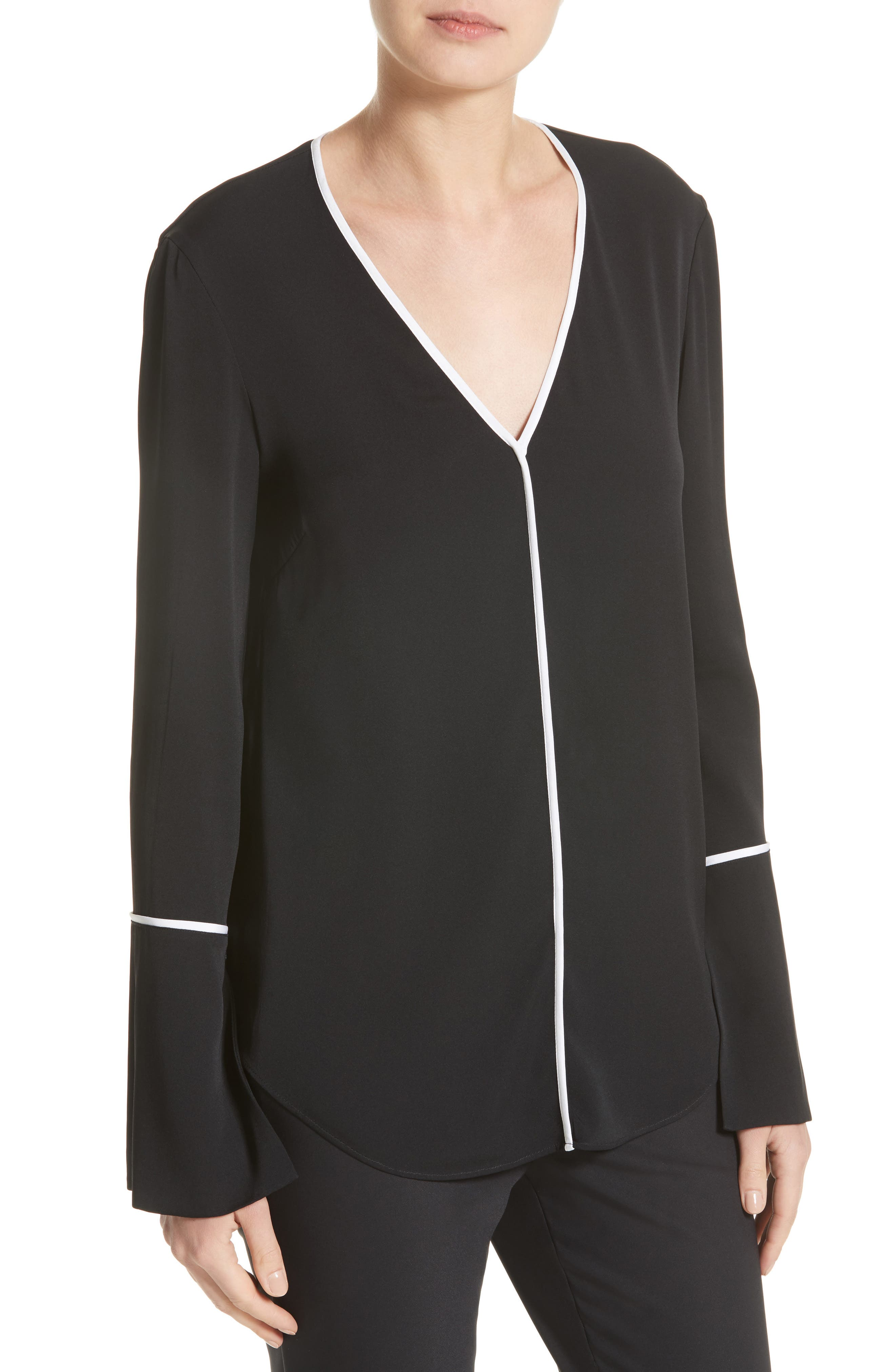Stretch Silk Double Georgette Blouse with Removable Scarf,                             Alternate thumbnail 4, color,                             Caviar/ Bianco