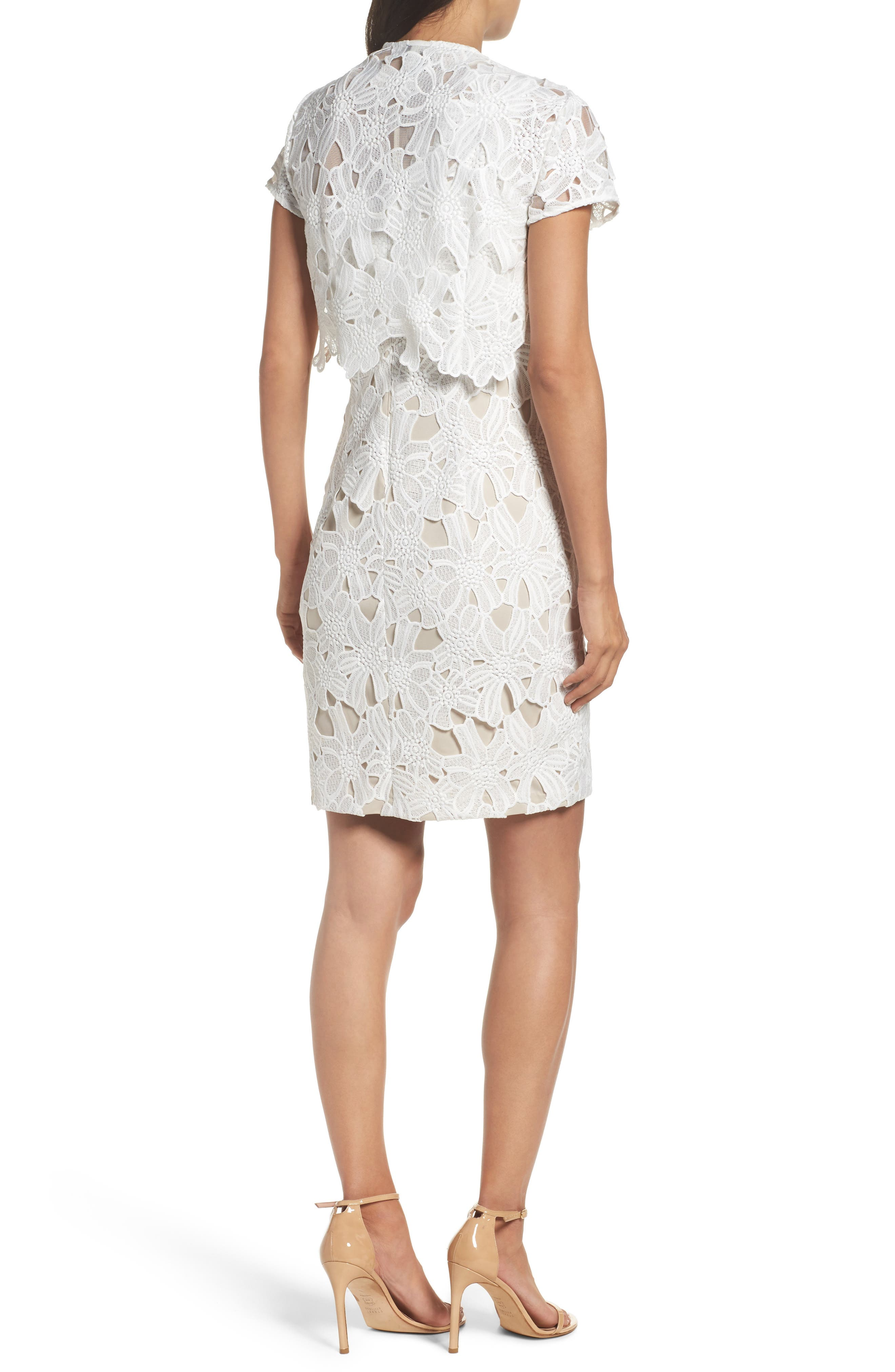 Cecila Lace Sheath Dress & Jacket Set,                             Alternate thumbnail 4, color,                             White/ Chamois