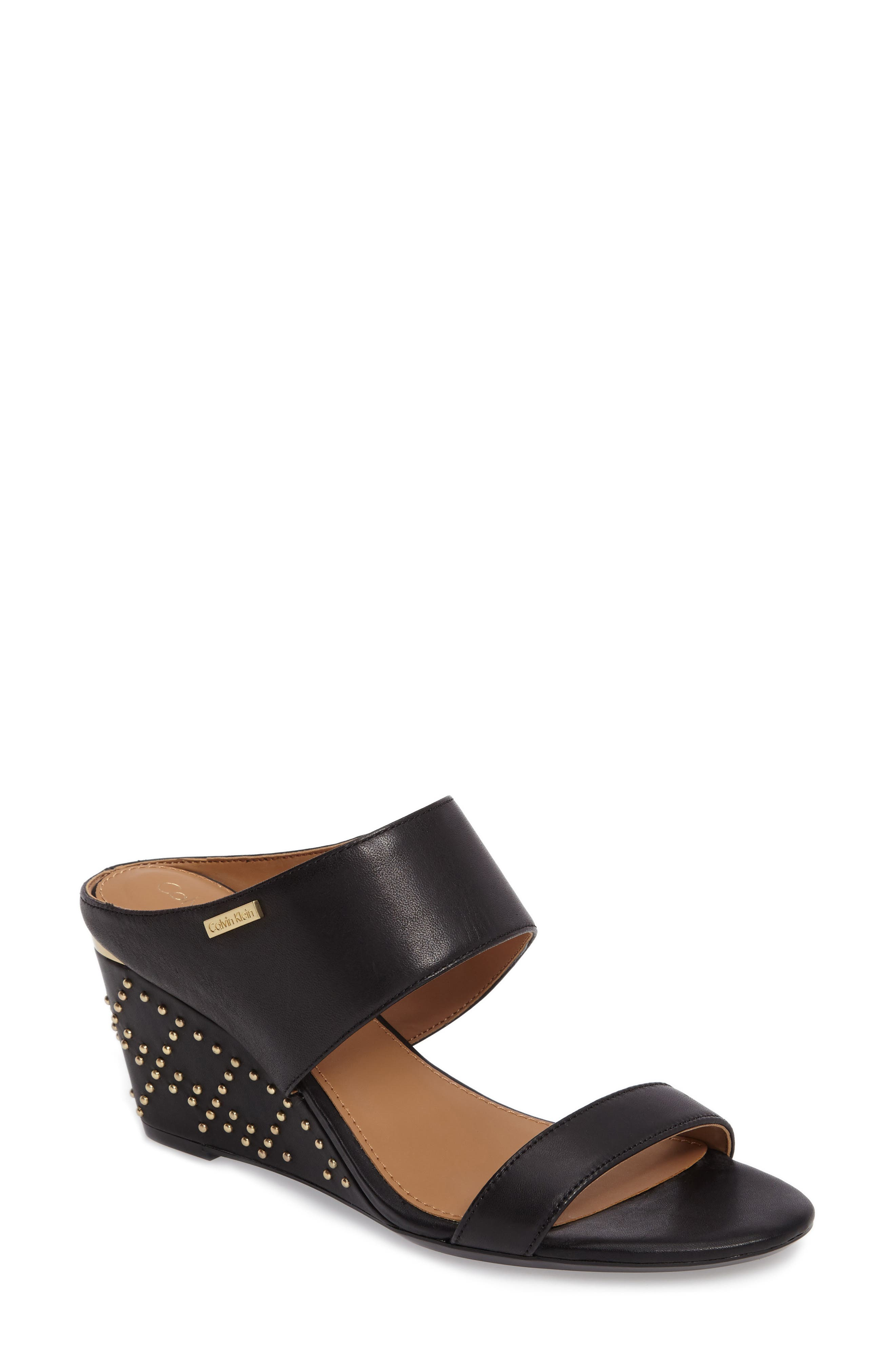 Phyllis Studded Wedge Sandal,                         Main,                         color, Black Leather
