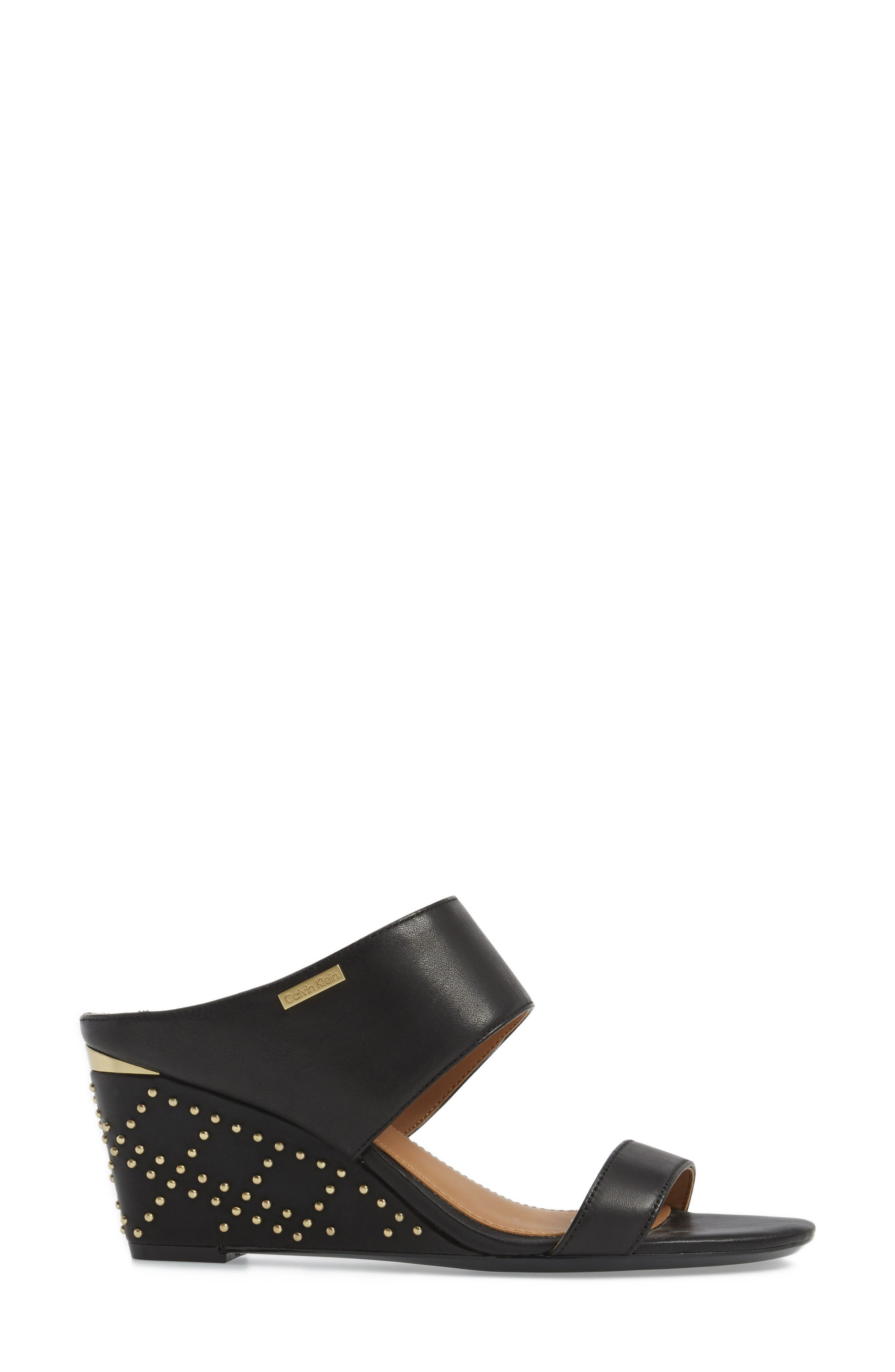 Phyllis Studded Wedge Sandal,                             Alternate thumbnail 3, color,                             Black Leather