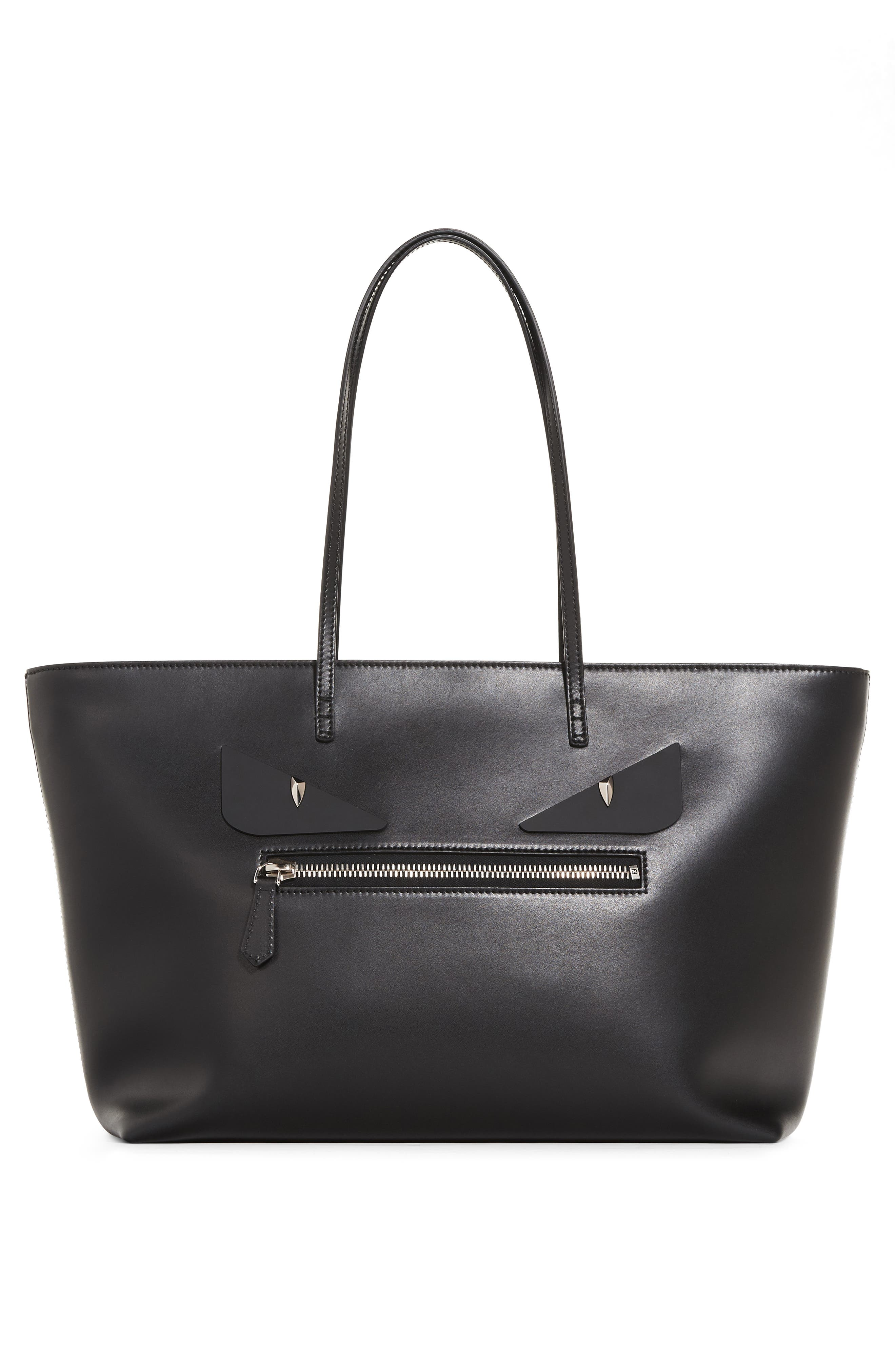 FENDI Medium Roll Monster Eyes Leather Tote