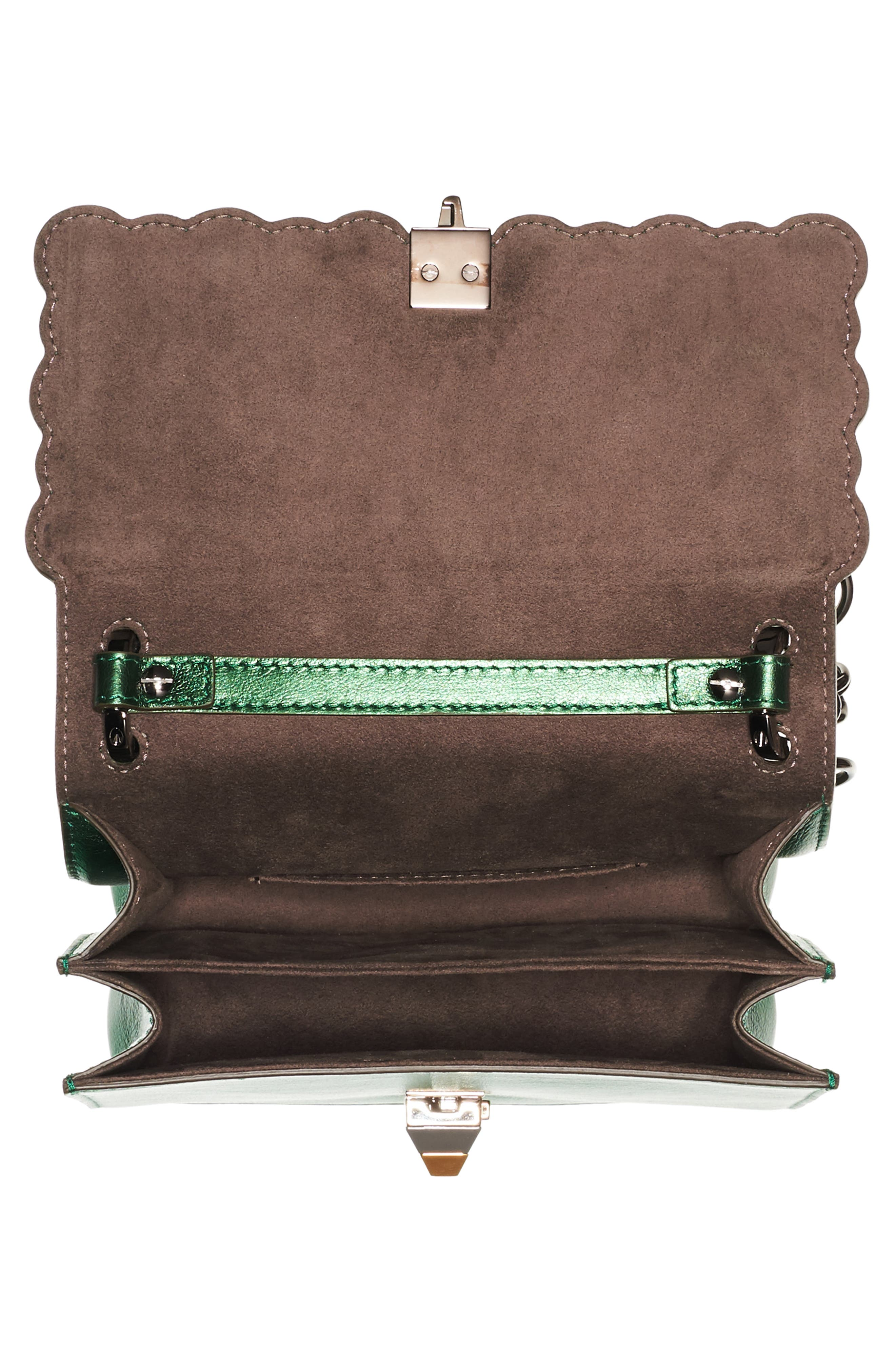 Small Kan I Metallic Leather Shoulder Bag,                             Alternate thumbnail 3, color,                             Green Metallic