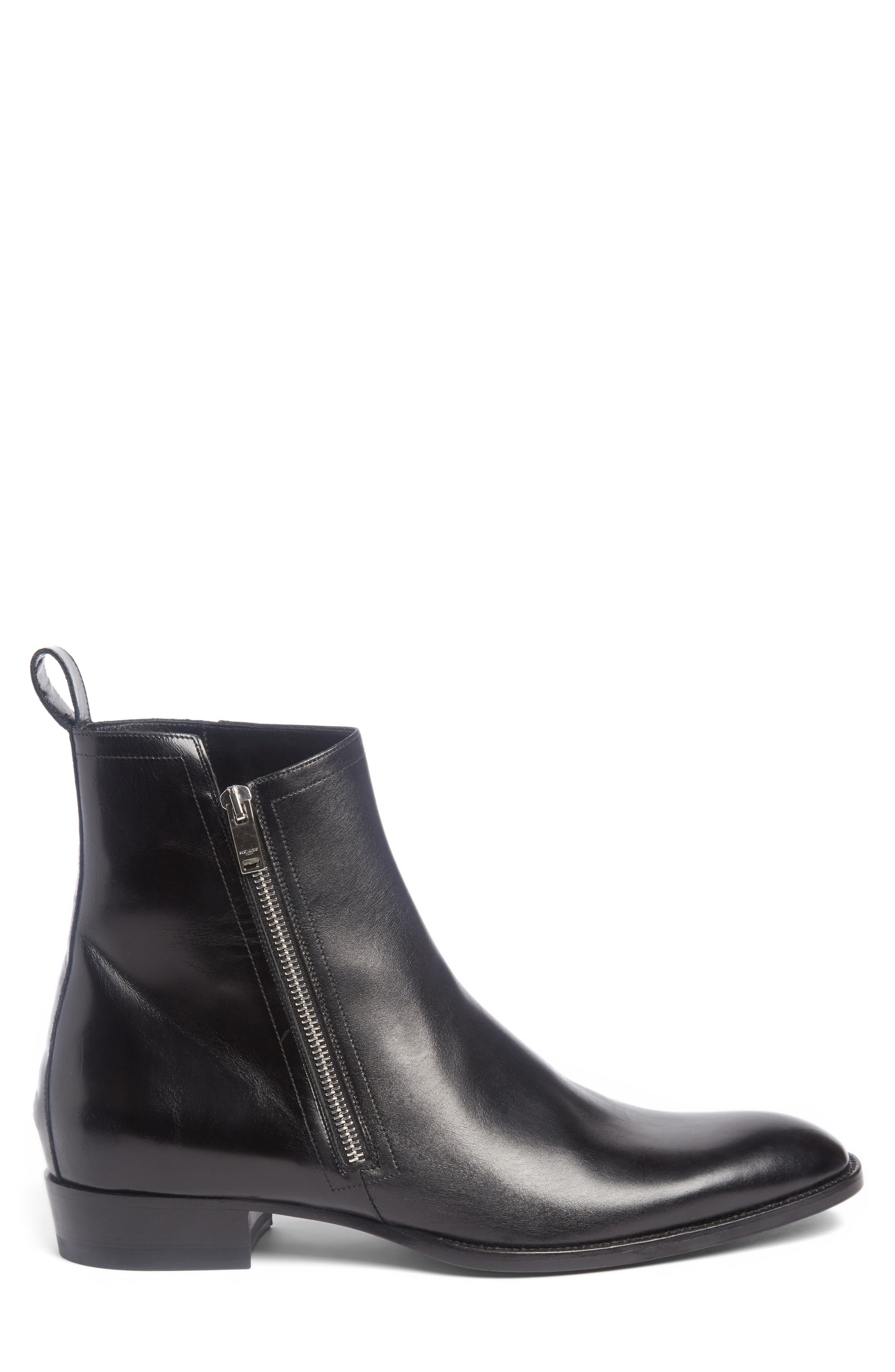 Wyatt Side Zip Boot,                             Alternate thumbnail 3, color,                             Nero Leather