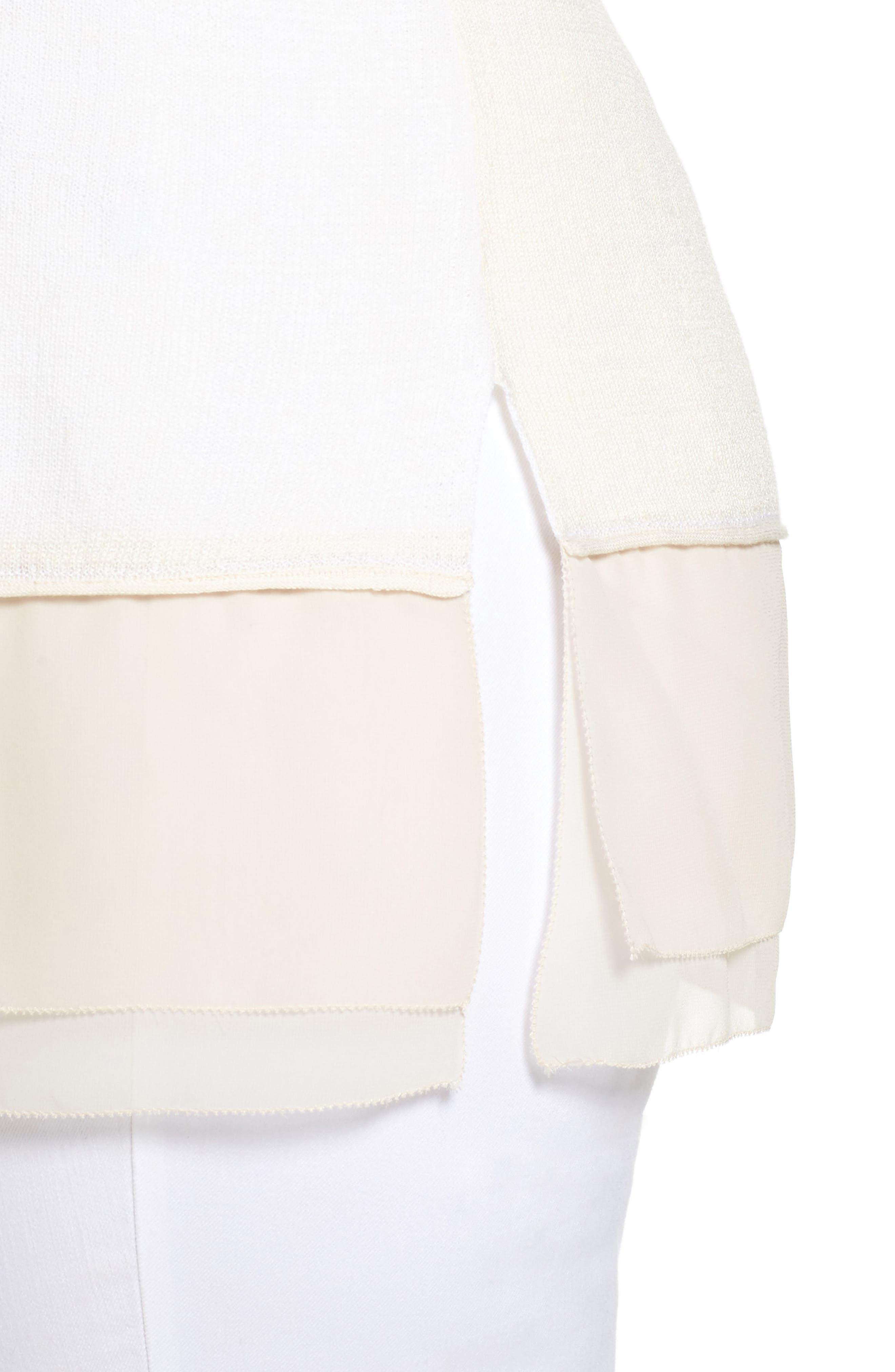Sunlight Chiffon Trim Linen Blend Sweater,                             Alternate thumbnail 4, color,                             Multi