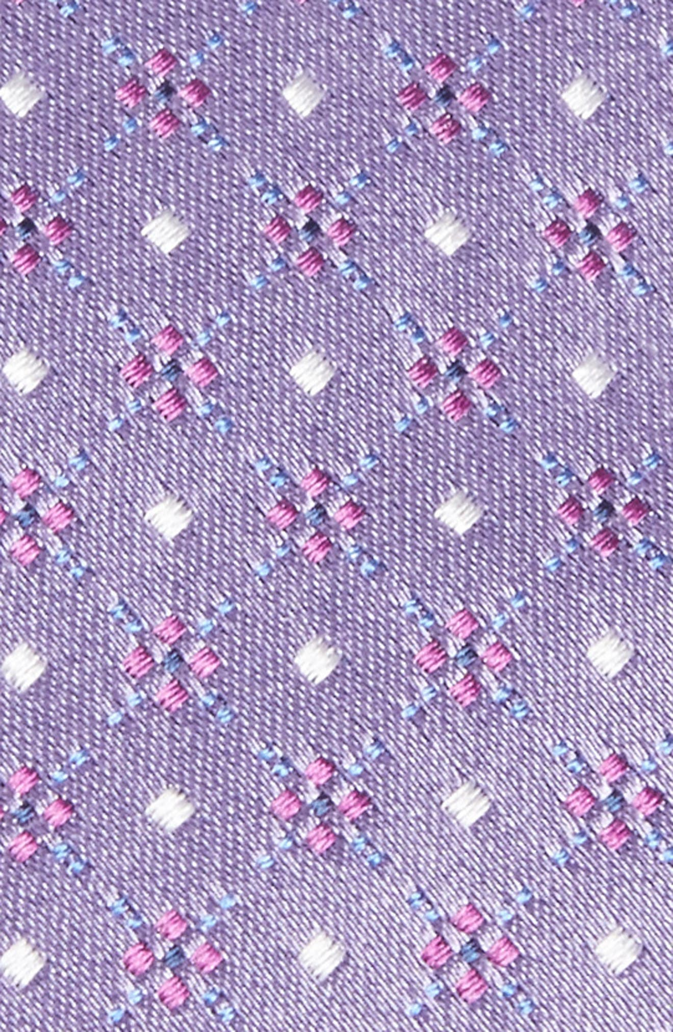 Geometric Silk Tie,                             Alternate thumbnail 2, color,                             Light Pastel/ Purple