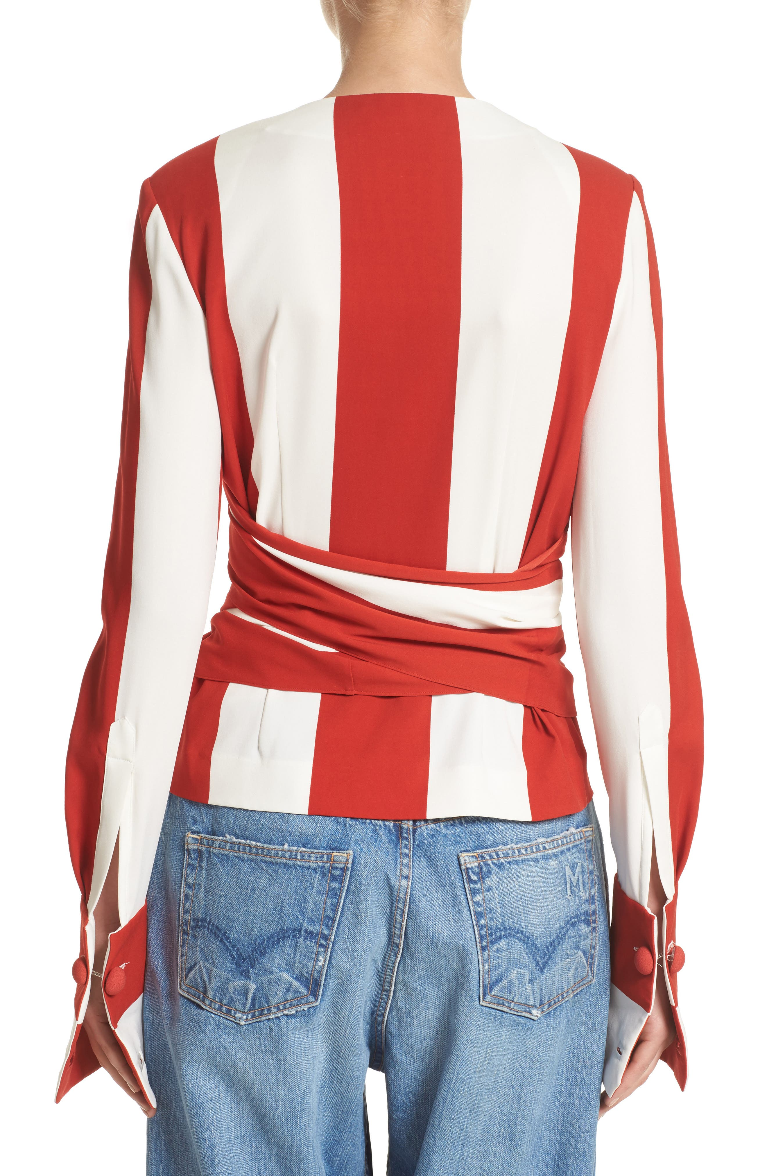 Alternate Image 2  - Monse Stripe Stretch Silk Wrap Blouse