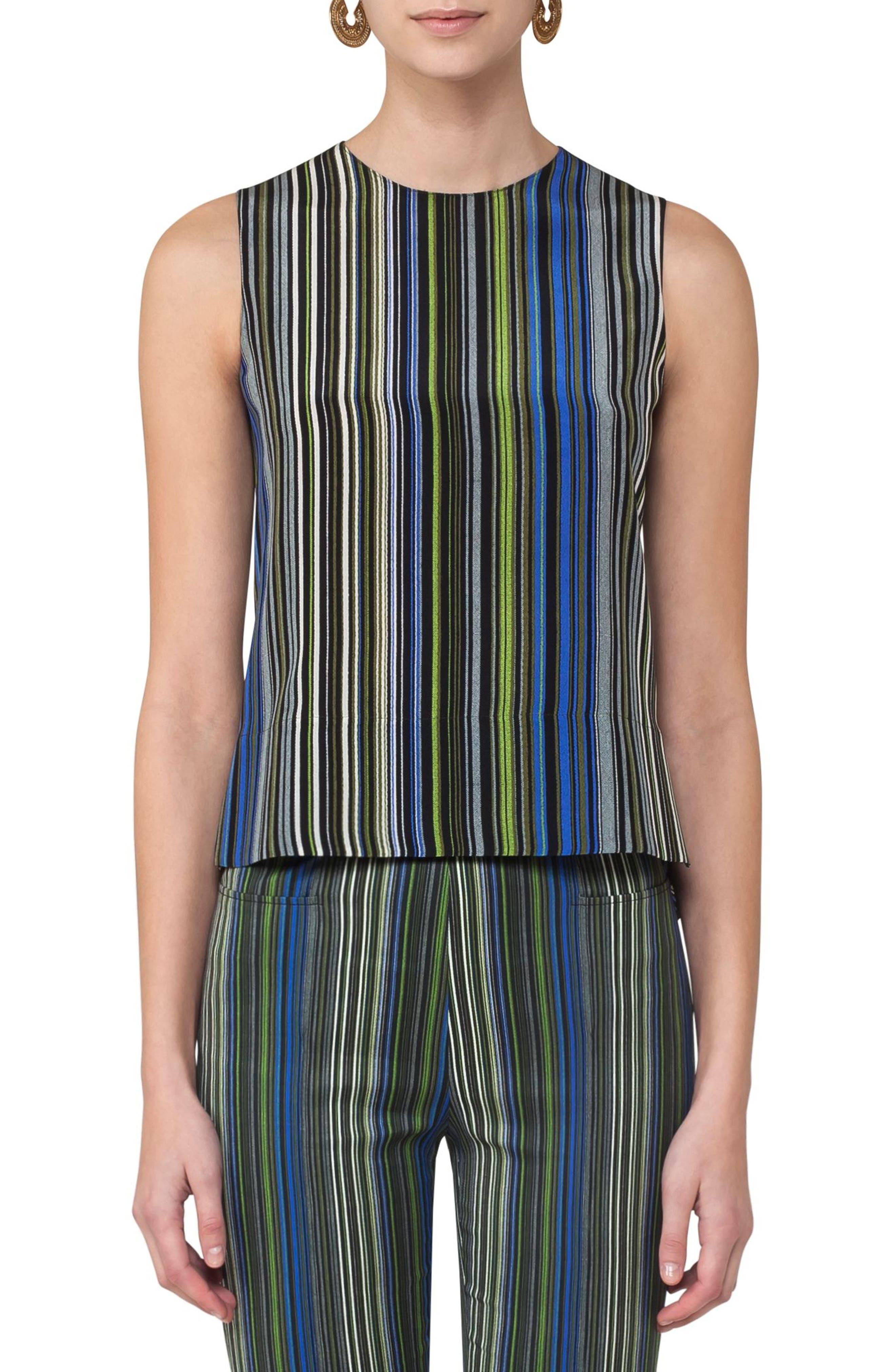 Paracas Stripe Silk Blouse,                             Main thumbnail 1, color,                             Multicolor Stripe