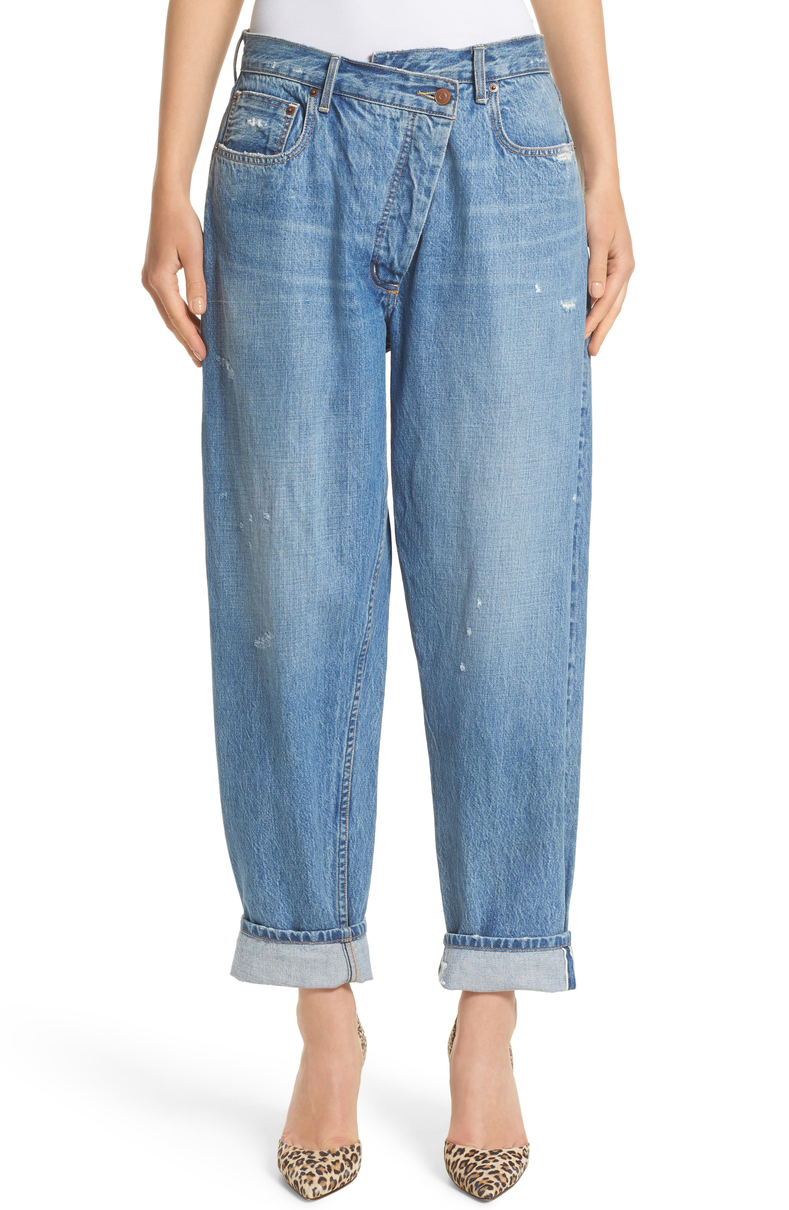 Wrap Waist Jeans,                         Main,                         color, Rinsed Blue