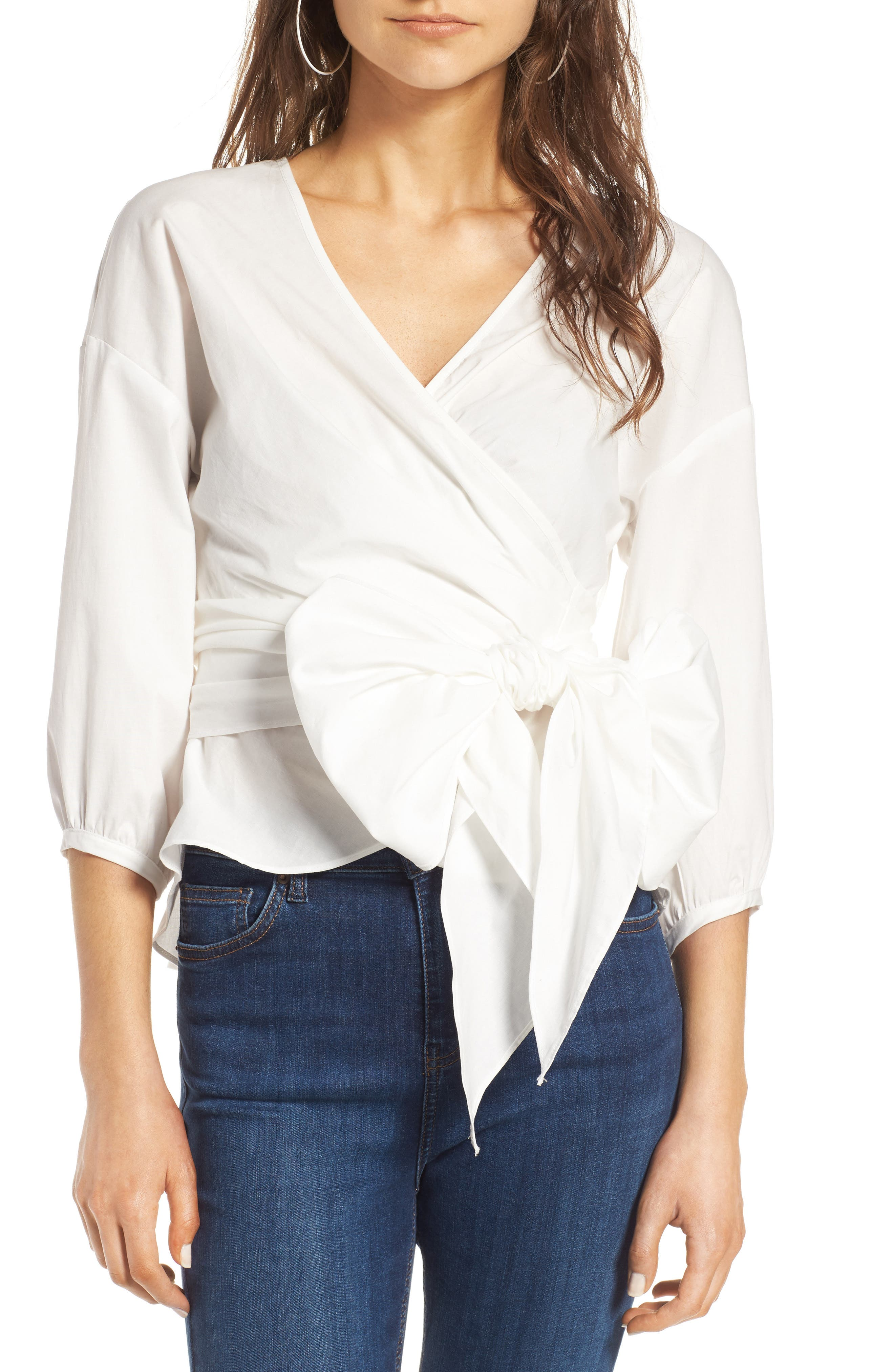 Janis Wrap Top,                         Main,                         color, Ivory
