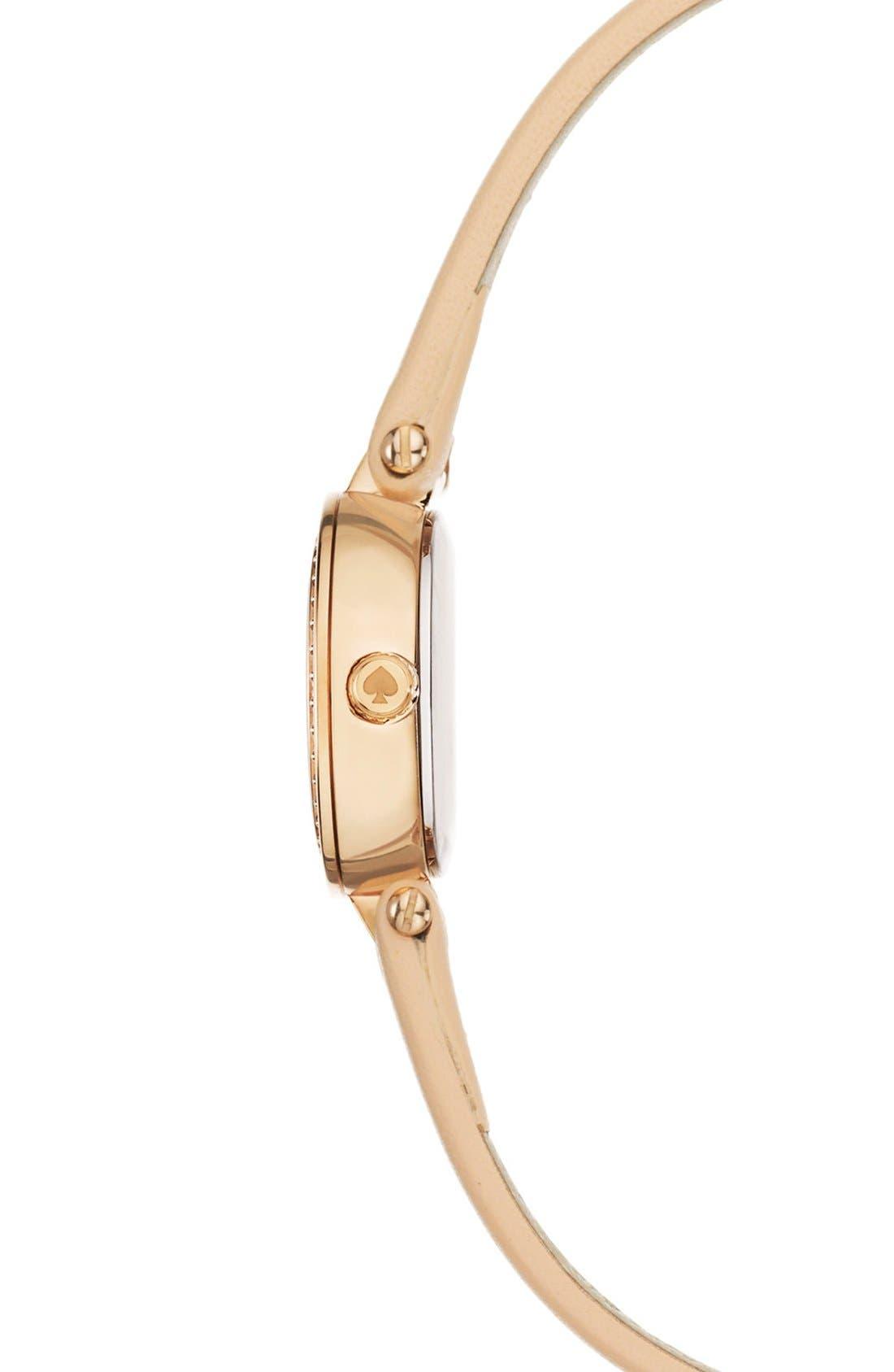 Alternate Image 3  - kate spade new york 'tiny metro' crystal bezel leather strap watch, 20mm