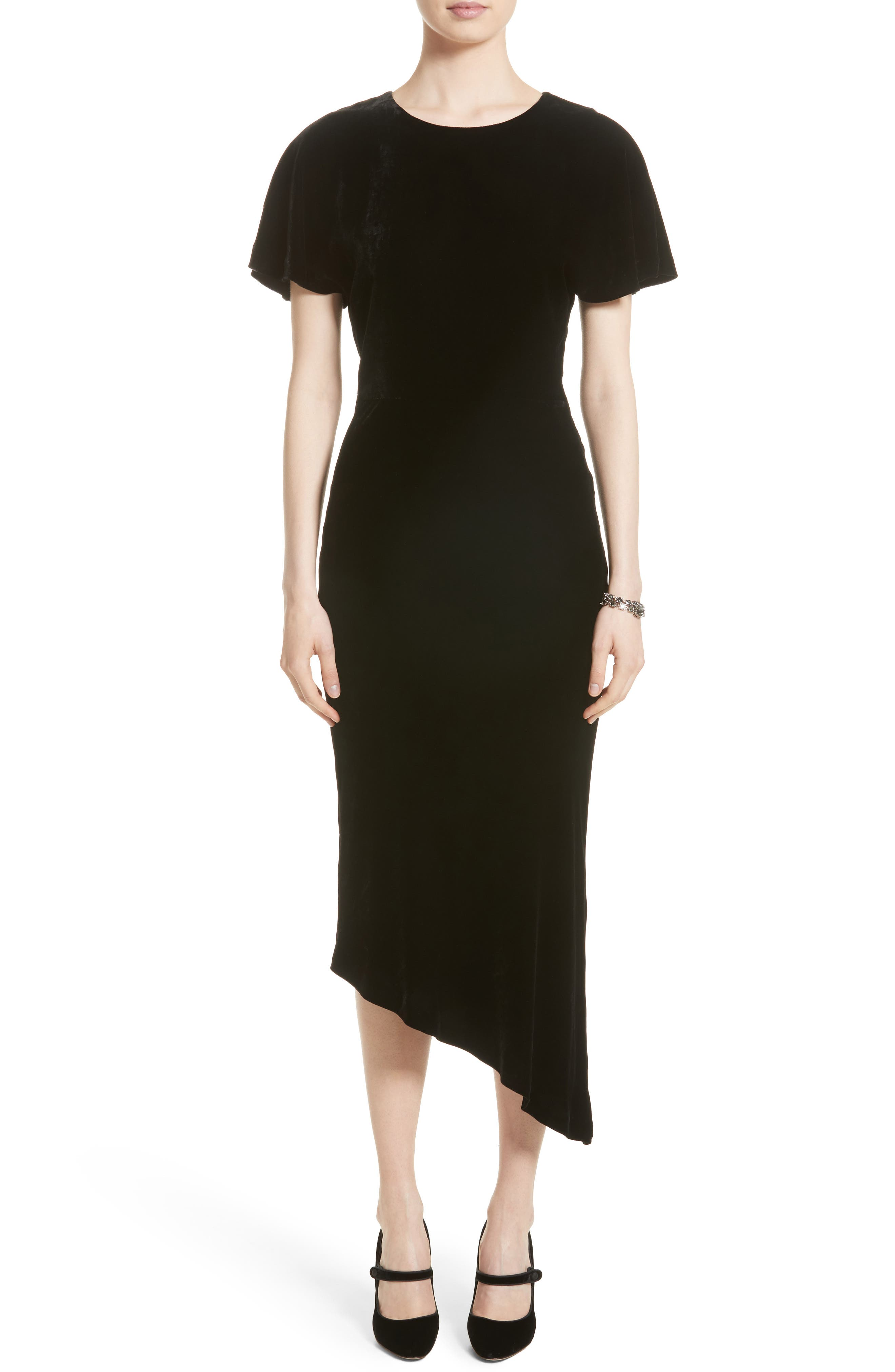 St. John Collection Asymmetrical Velvet Dress