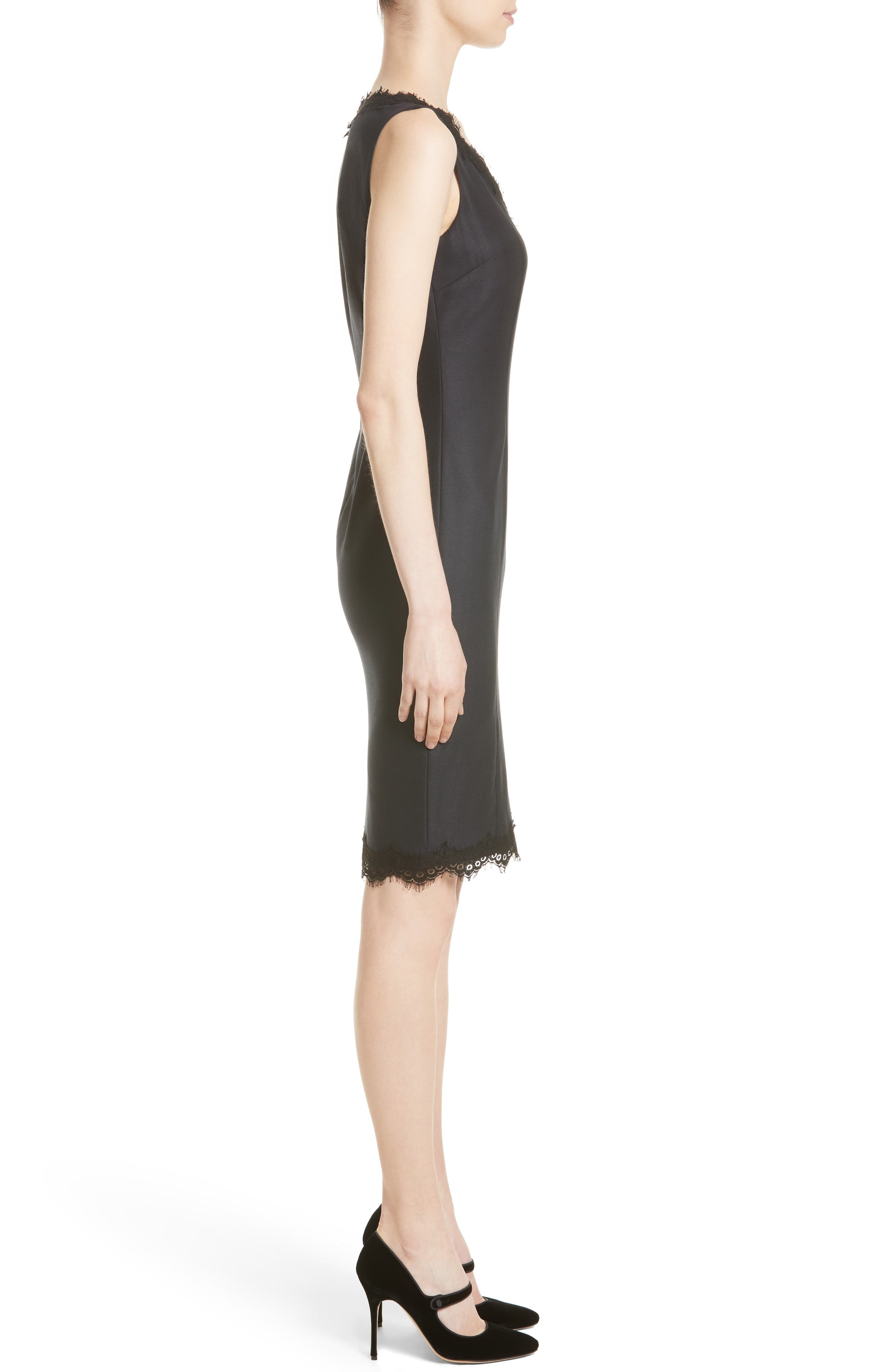 Stretch Birdseye Sheath Dress,                             Alternate thumbnail 3, color,                             Navy/ Caviar