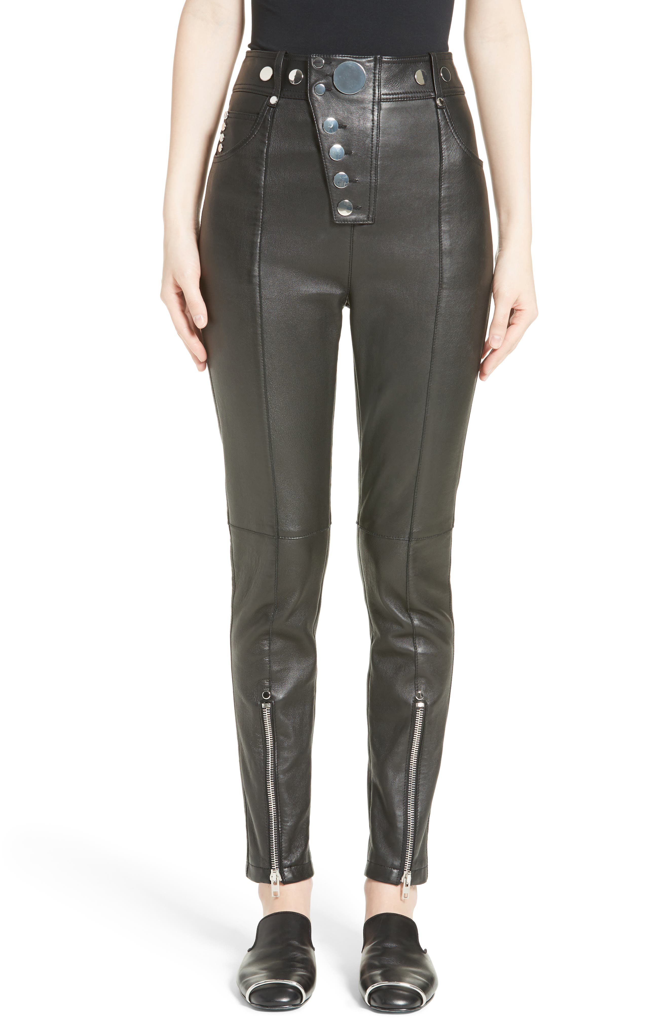 High Waist Leather Pants,                         Main,                         color, Onyx