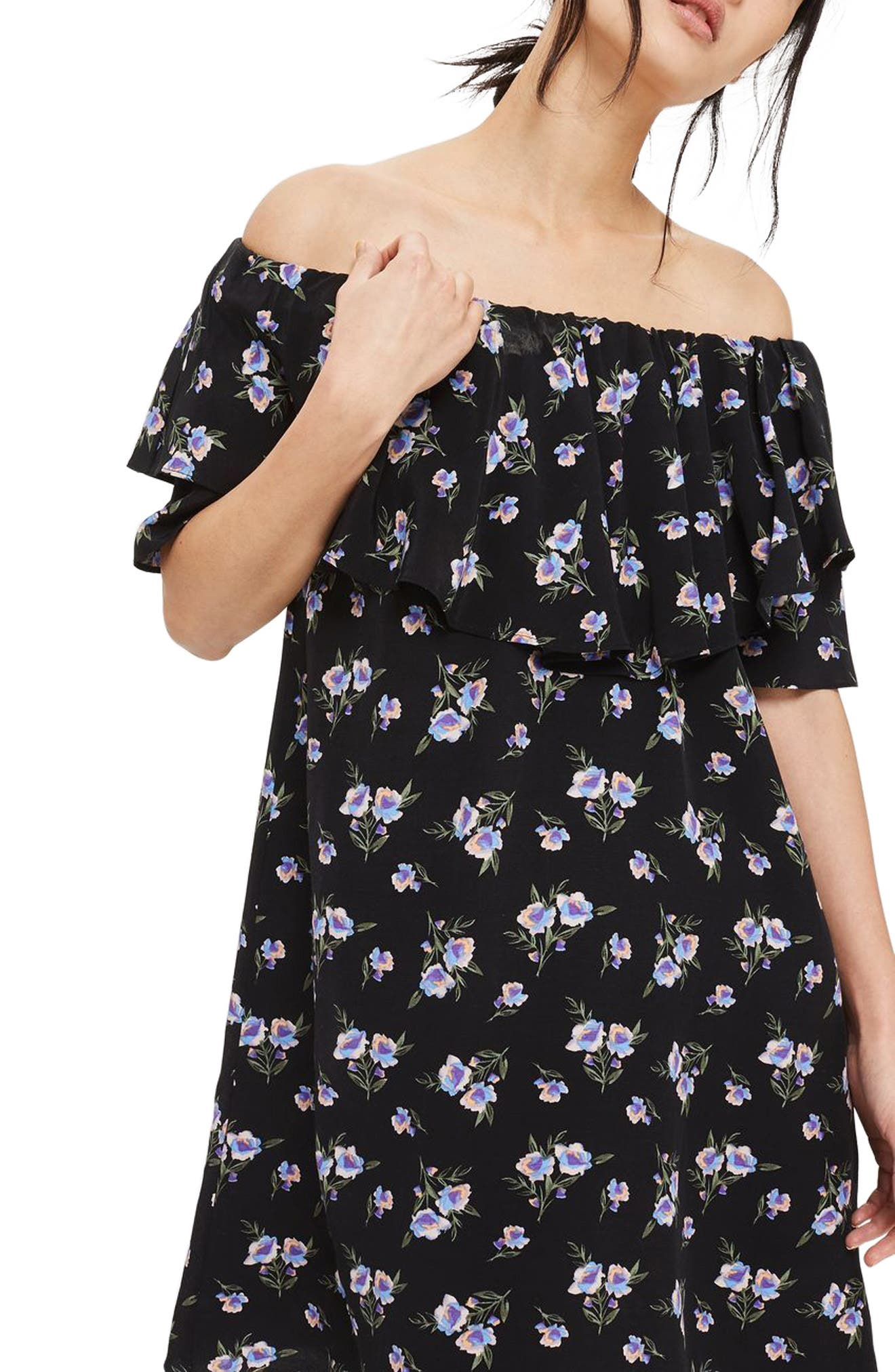 Alternate Image 1 Selected - Topshop Bardot Floral Minidress